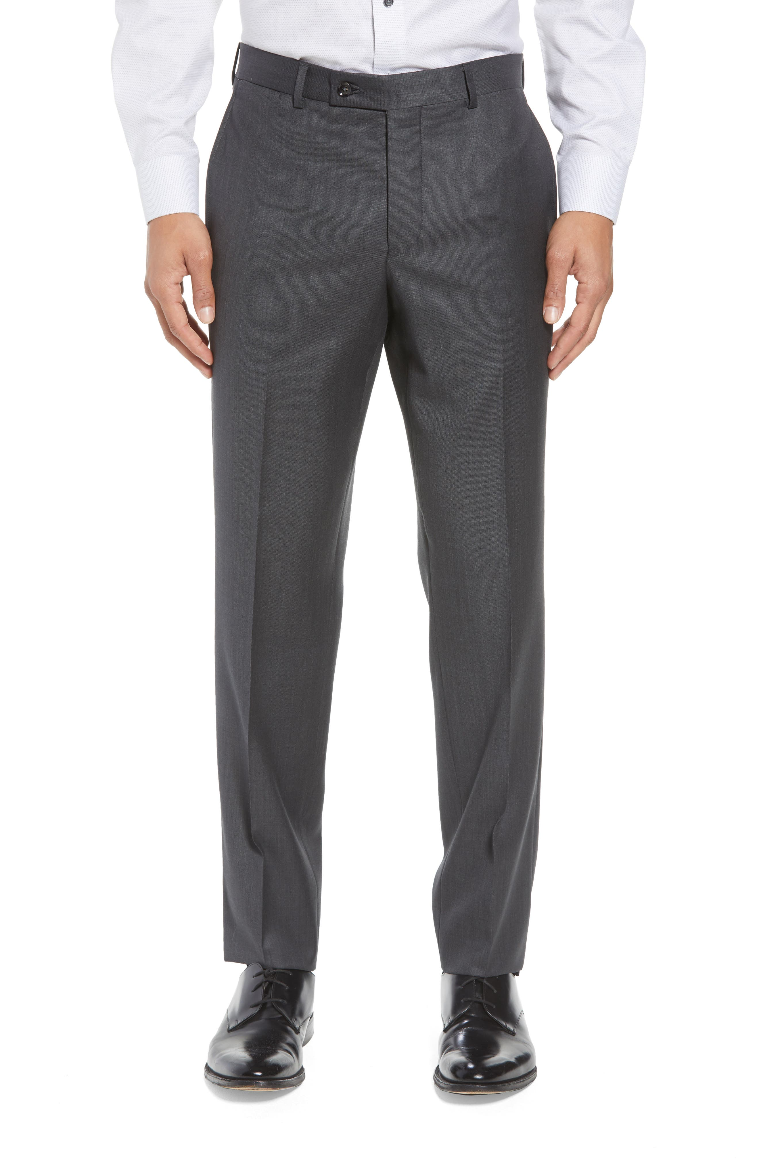 TED BAKER LONDON, ay' Trim Fit Solid Wool Suit, Alternate thumbnail 5, color, CHARCOAL