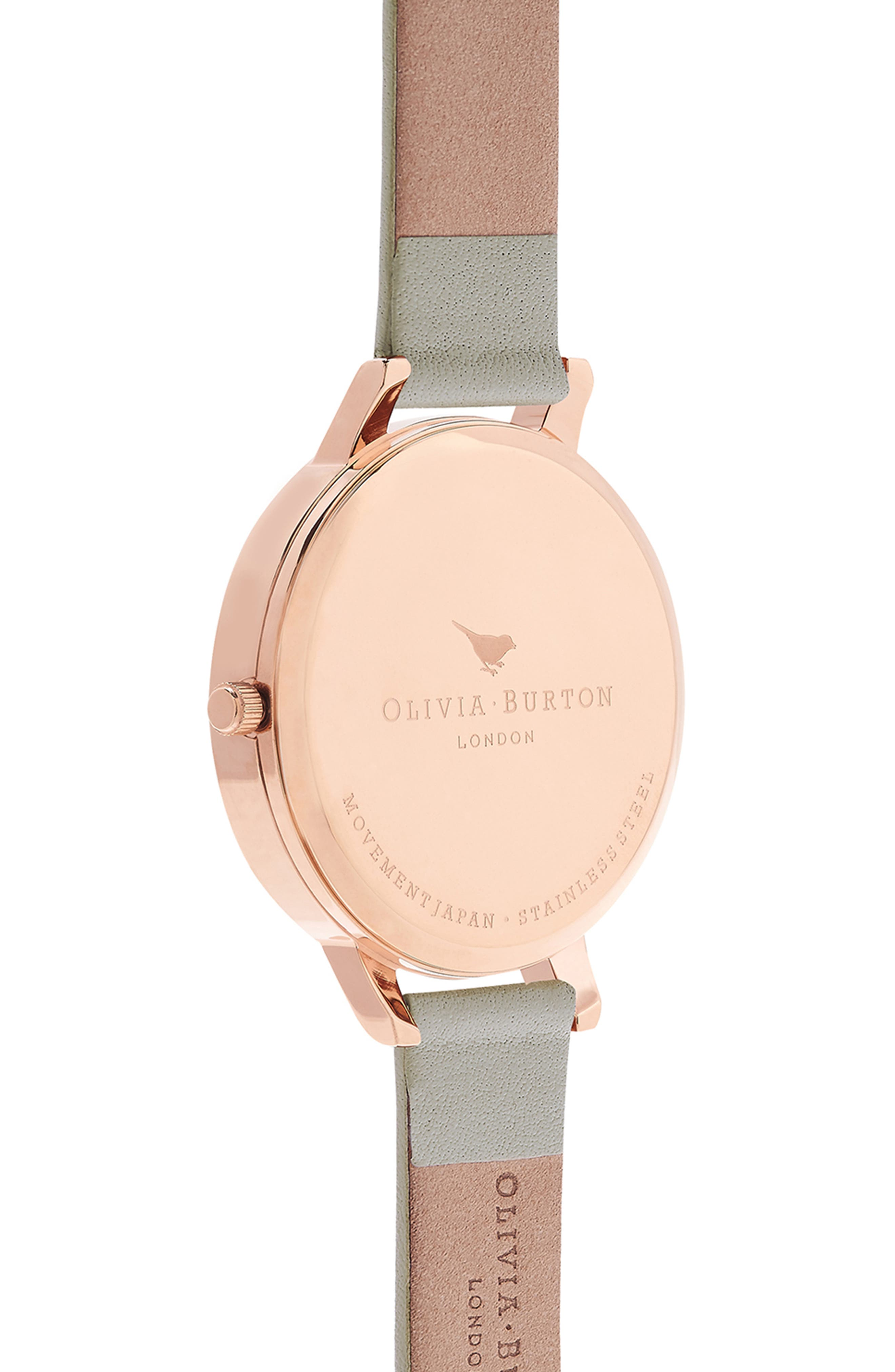 OLIVIA BURTON, Big Dial Leather Strap Watch, 38mm, Alternate thumbnail 3, color, GREY/ WHITE