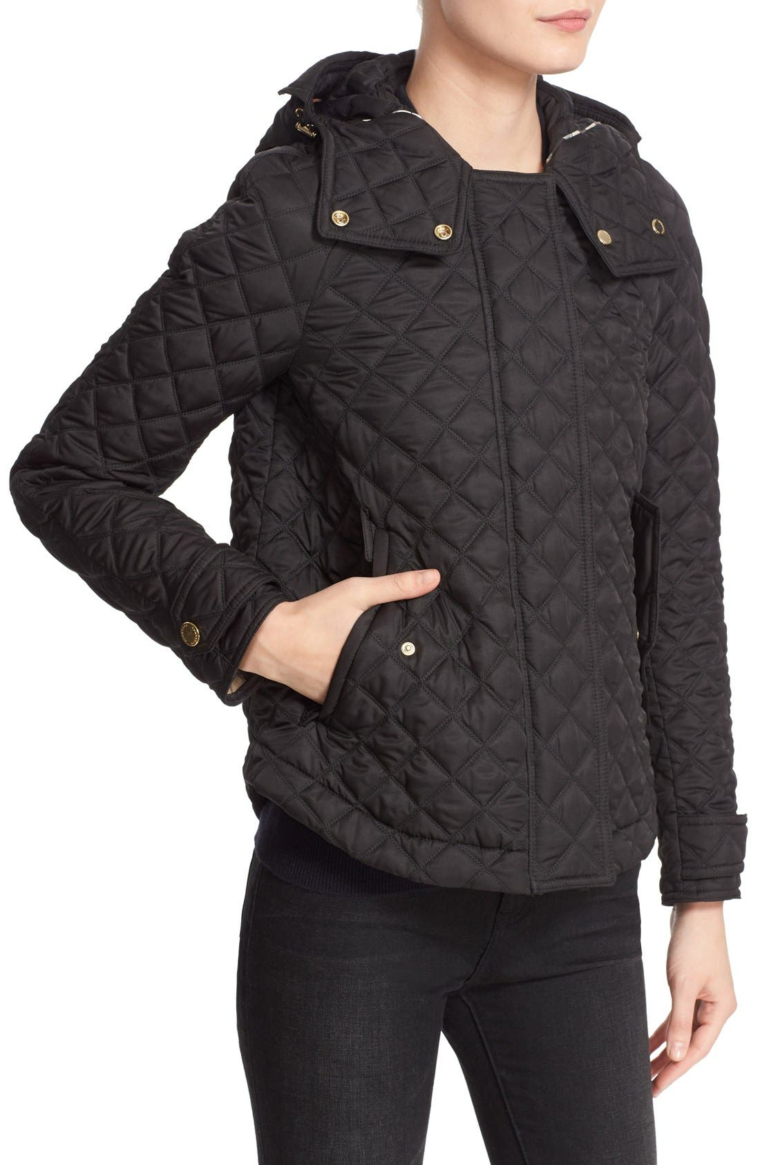 BURBERRY BRIT, 'Leightonbury' Quilted Hooded Jacket, Alternate thumbnail 5, color, 001
