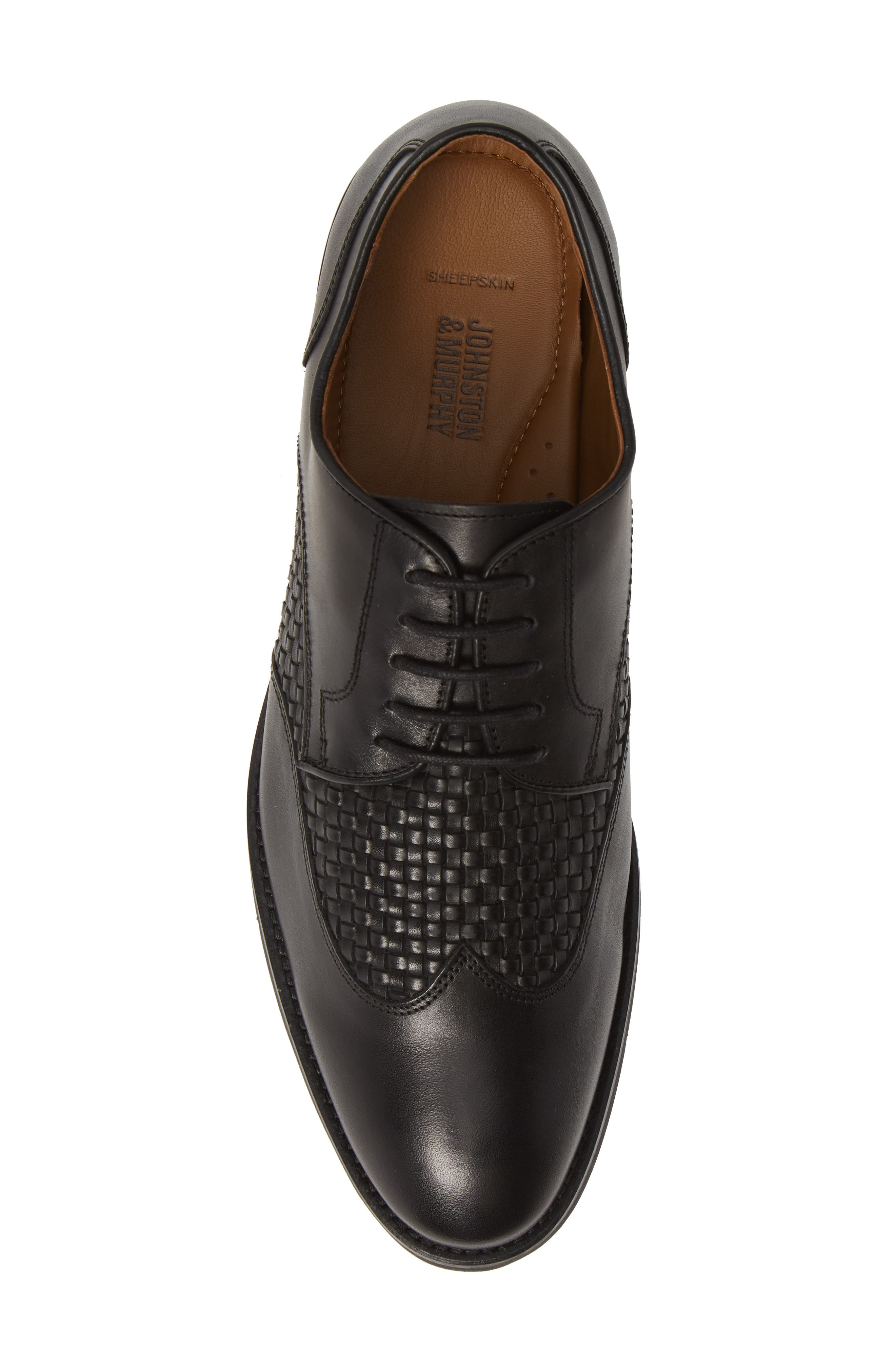 JOHNSTON & MURPHY, Carlson Woven Wingtip Derby, Alternate thumbnail 5, color, BLACK LEATHER