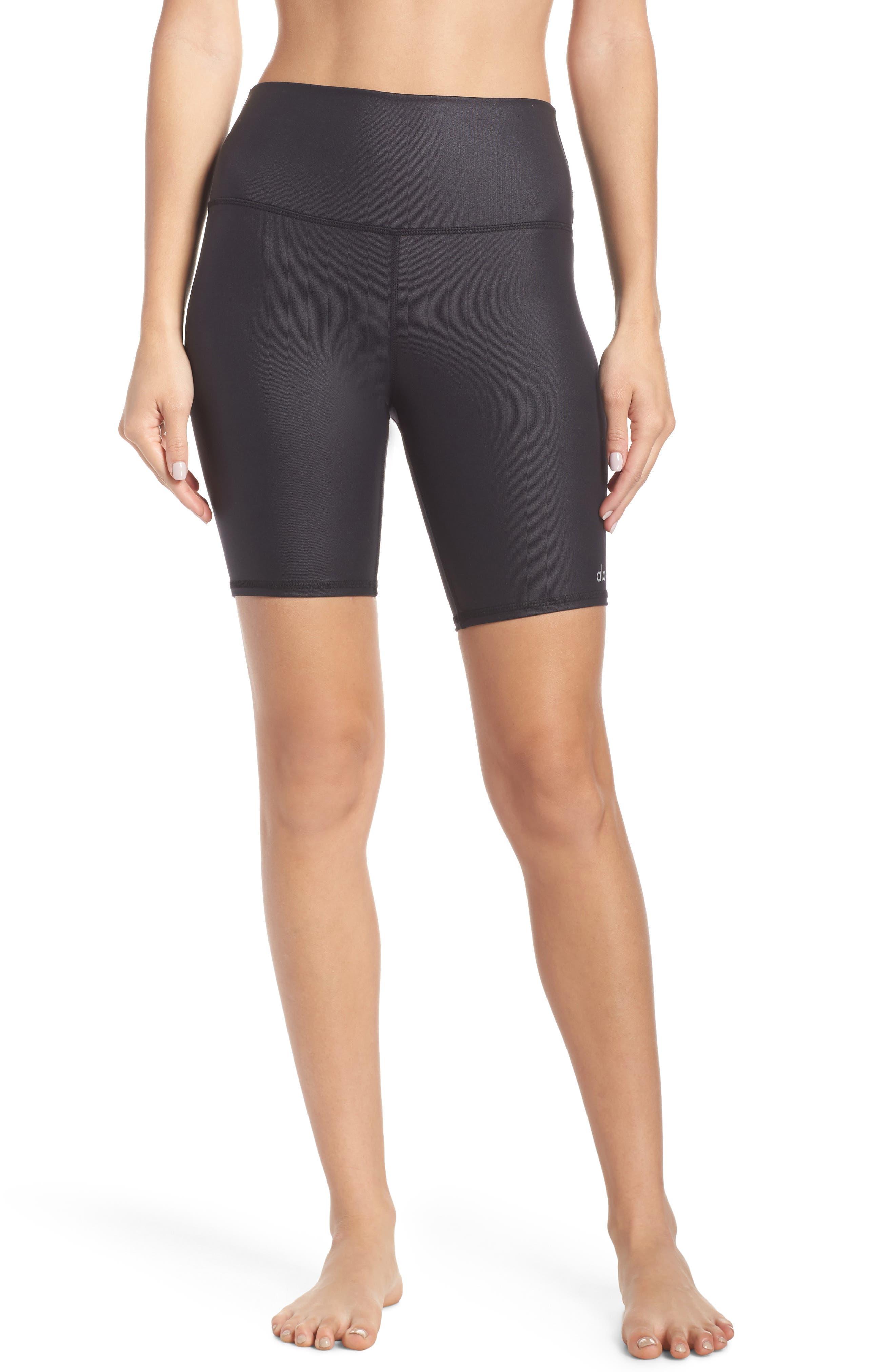 ALO High Waist Biker Shorts, Main, color, BLACK GLOSSY