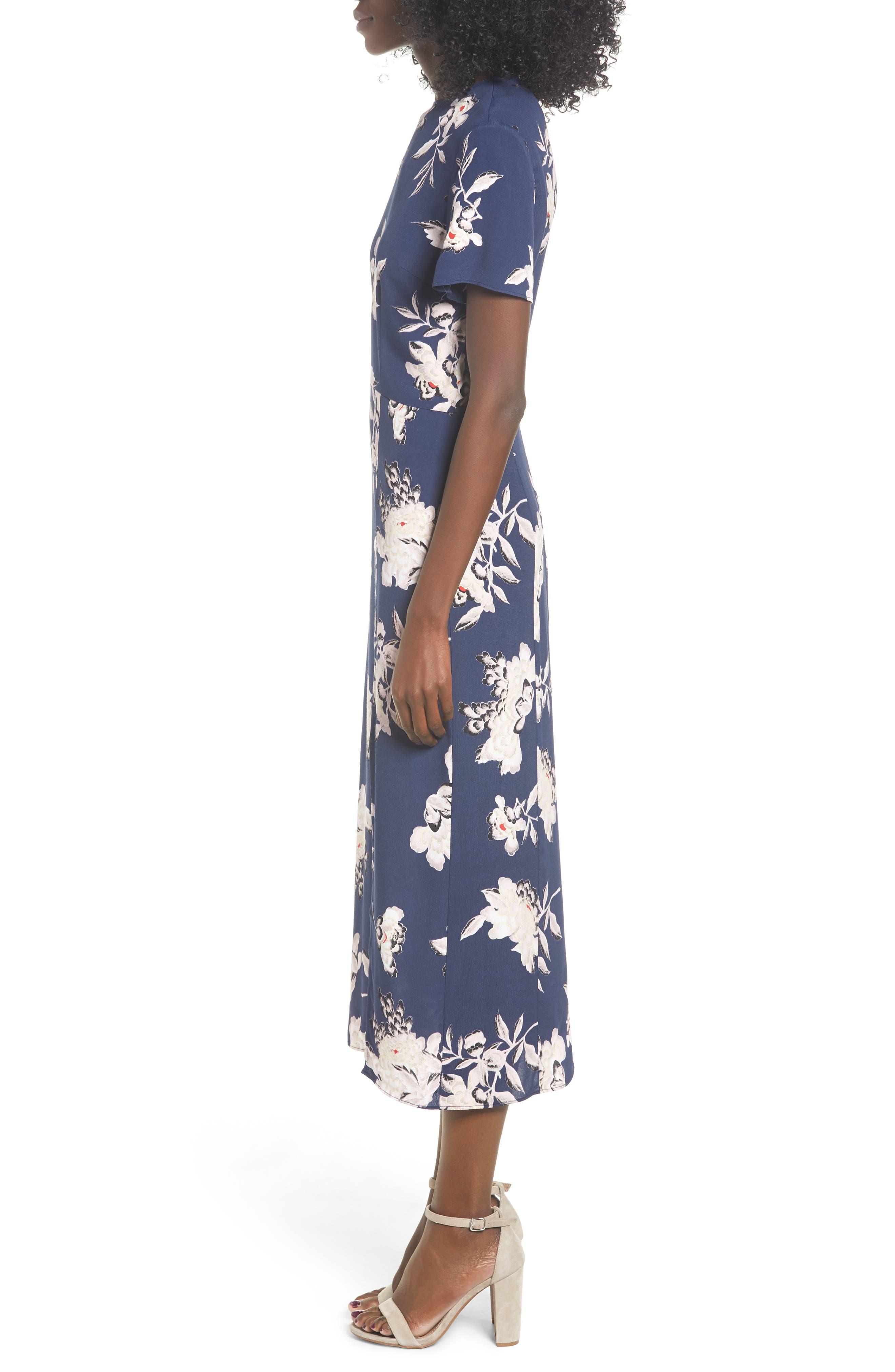 LEITH, Print Midi Dress, Alternate thumbnail 4, color, NAVY PEACOAT KIMONO FLORAL