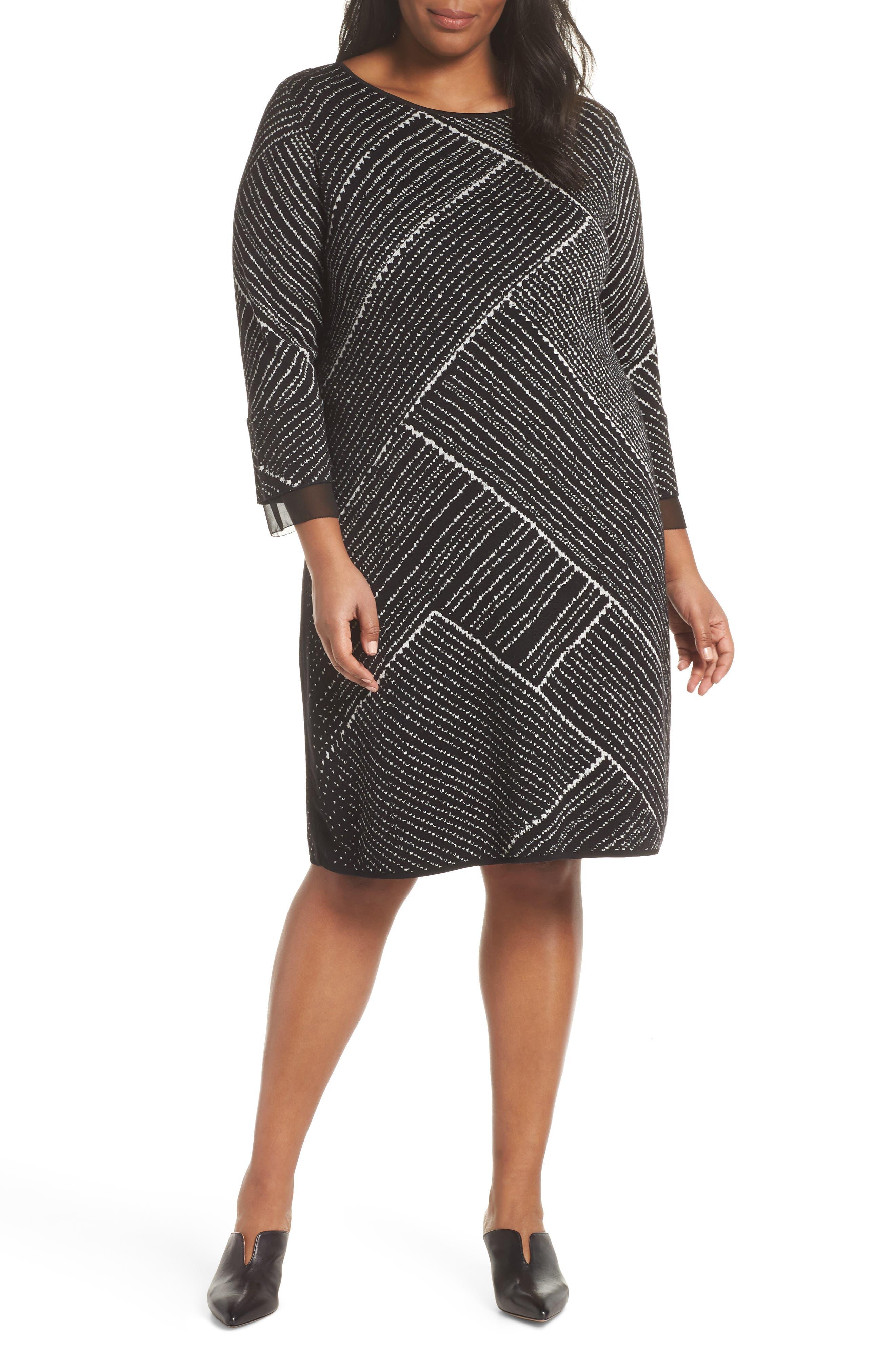 Plus Size Nic+Zoe Finale A-Line Sweater Dress, Black