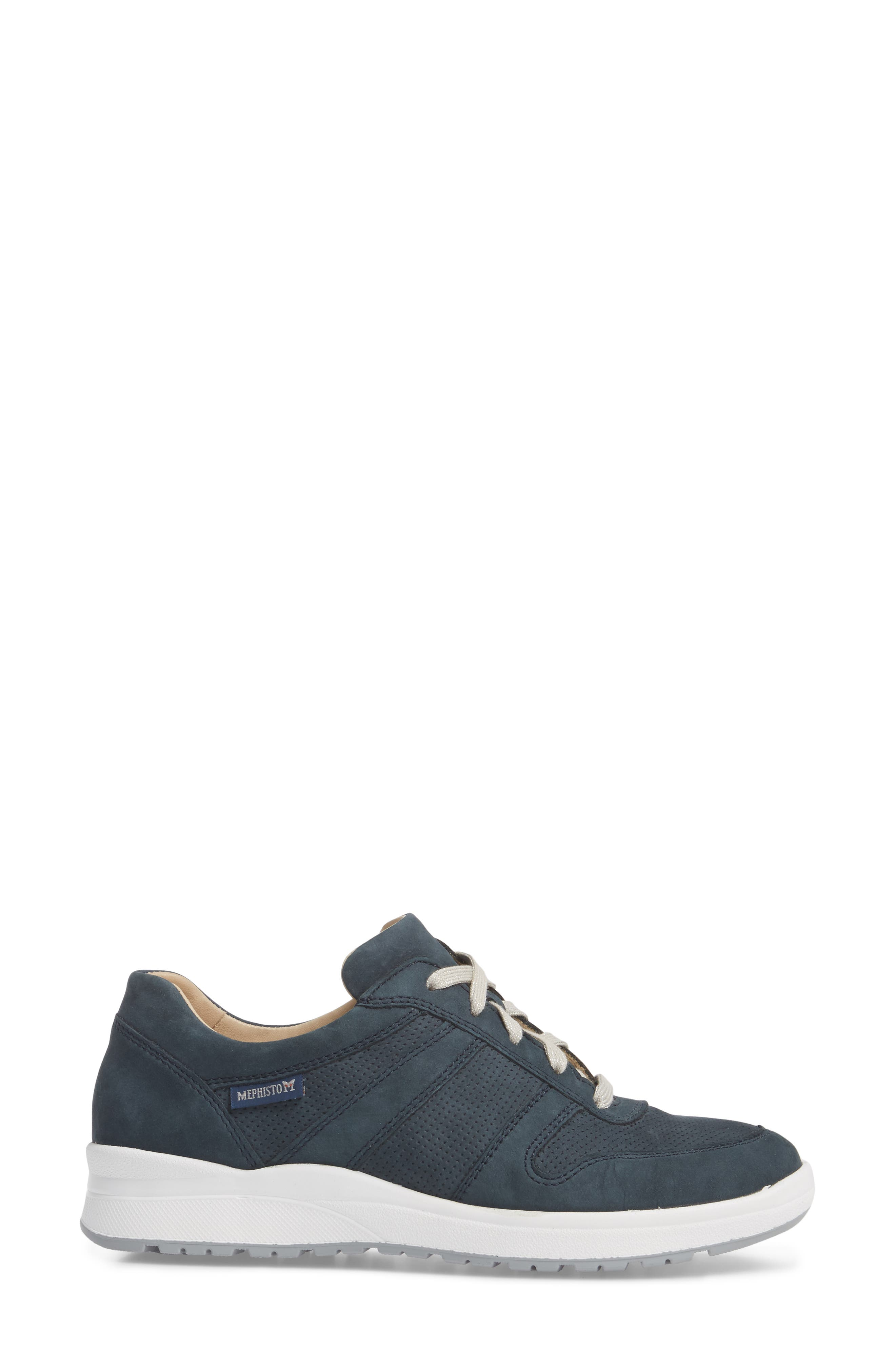 MEPHISTO, Rebecca Perforated Sneaker, Alternate thumbnail 3, color, NAVY