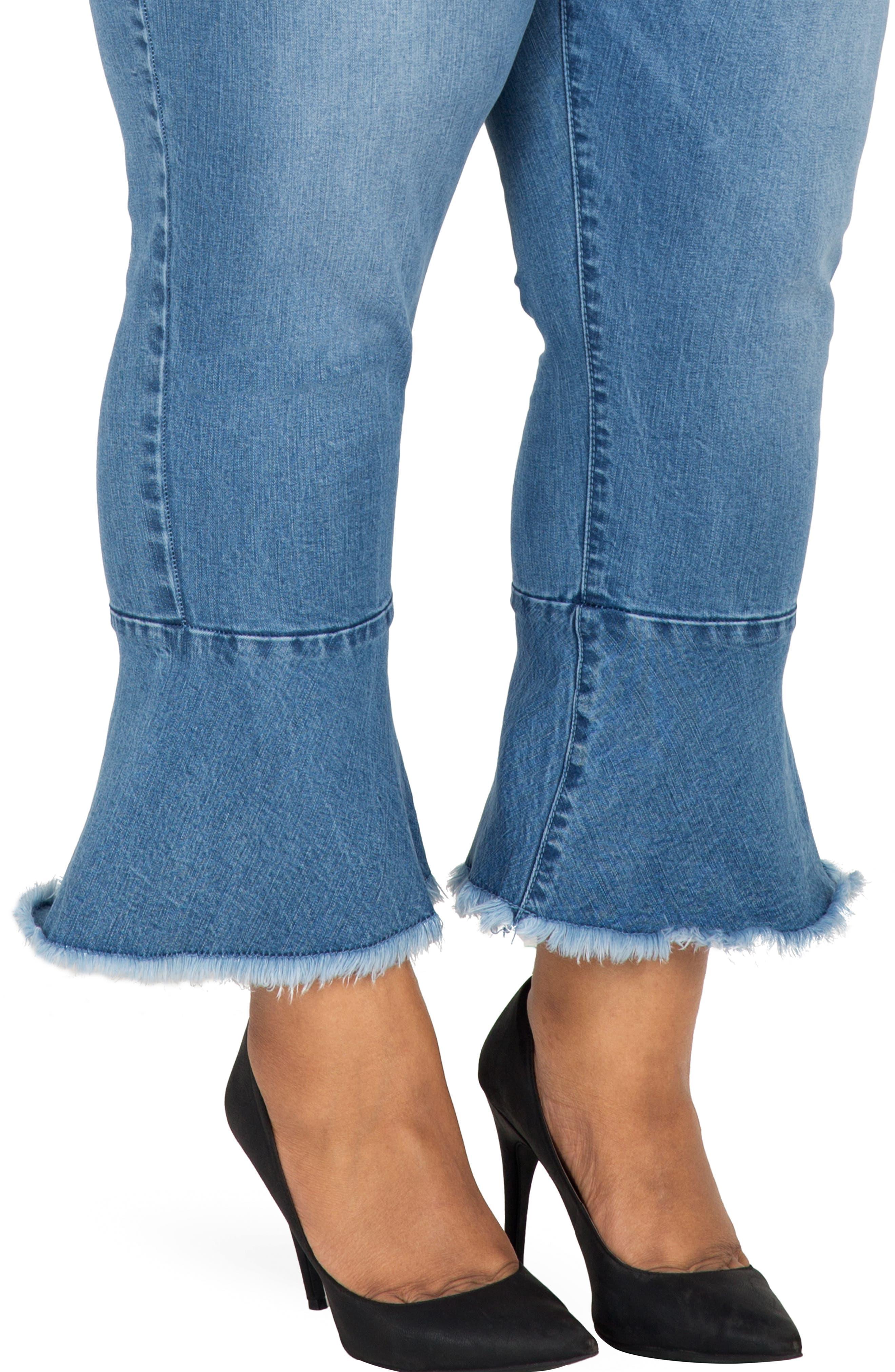 POETIC JUSTICE, Kesha Ruffle Skinny Jeans, Alternate thumbnail 4, color, BLUE