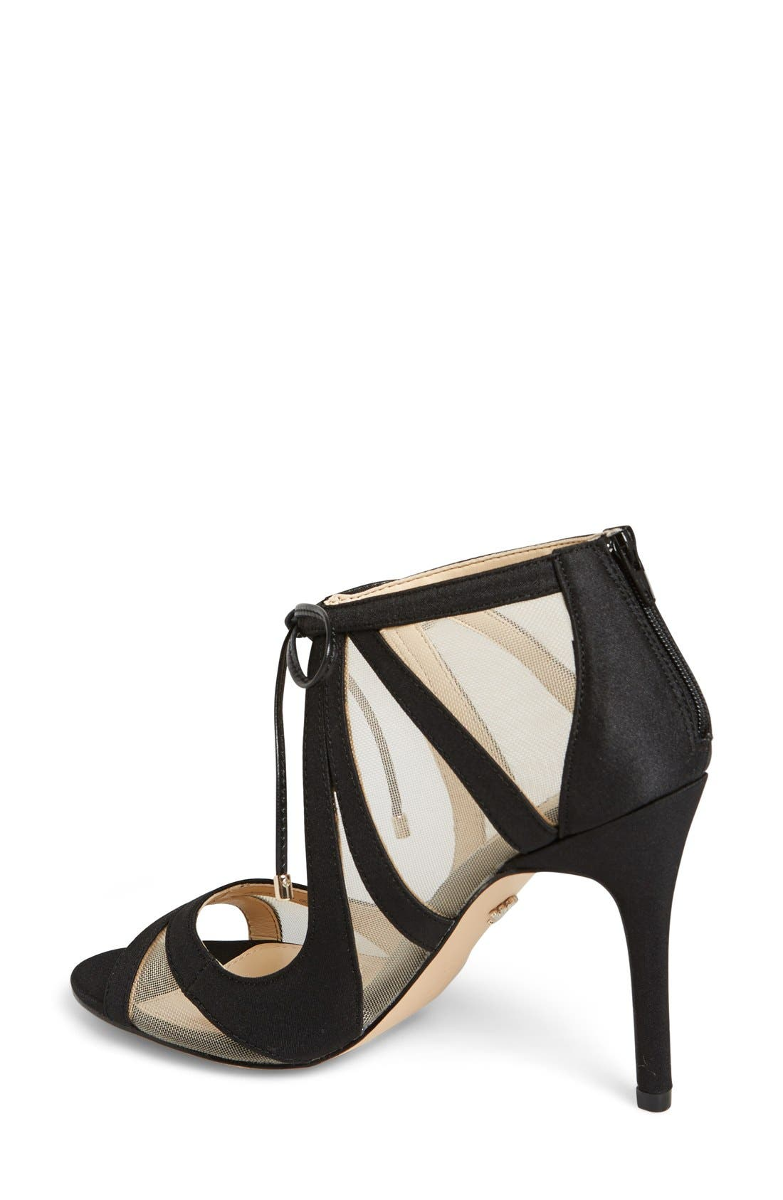 NINA, Cherie Illusion Sandal, Alternate thumbnail 4, color, BLACK SATIN/ NUDE MESH
