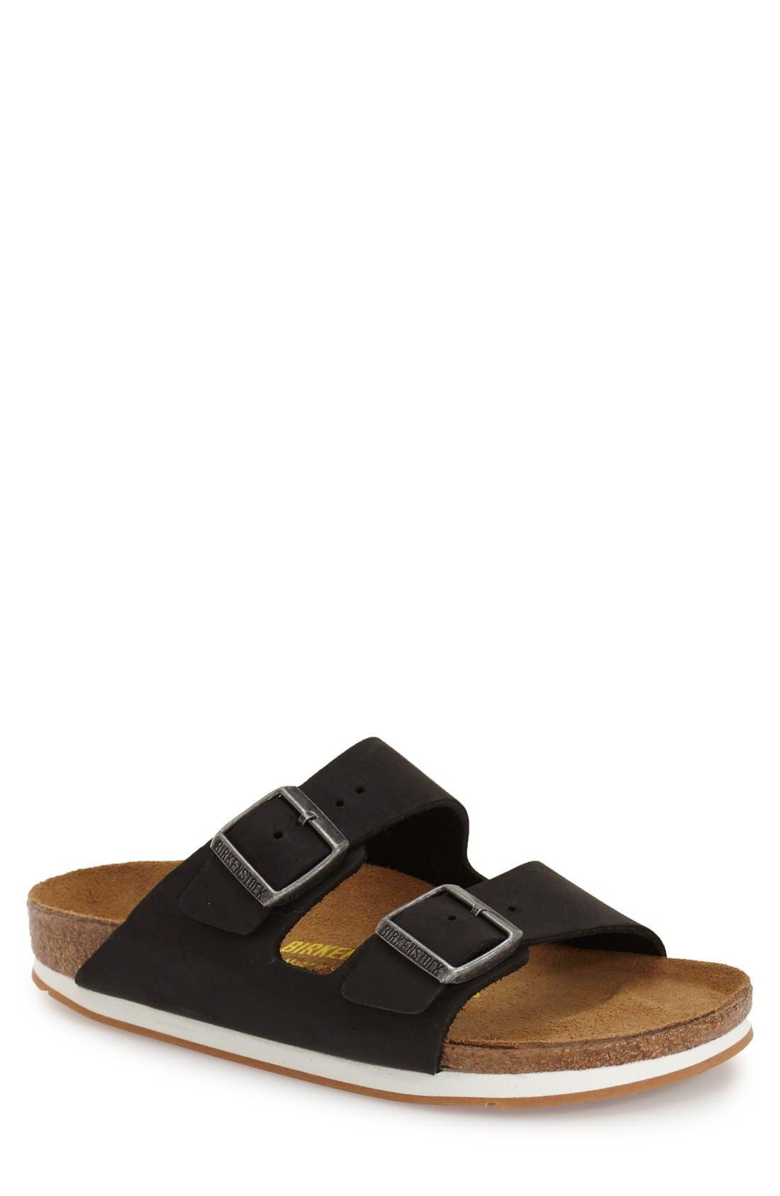 BIRKENSTOCK, 'Arizona' Leather Slide Sandal, Main thumbnail 1, color, 001
