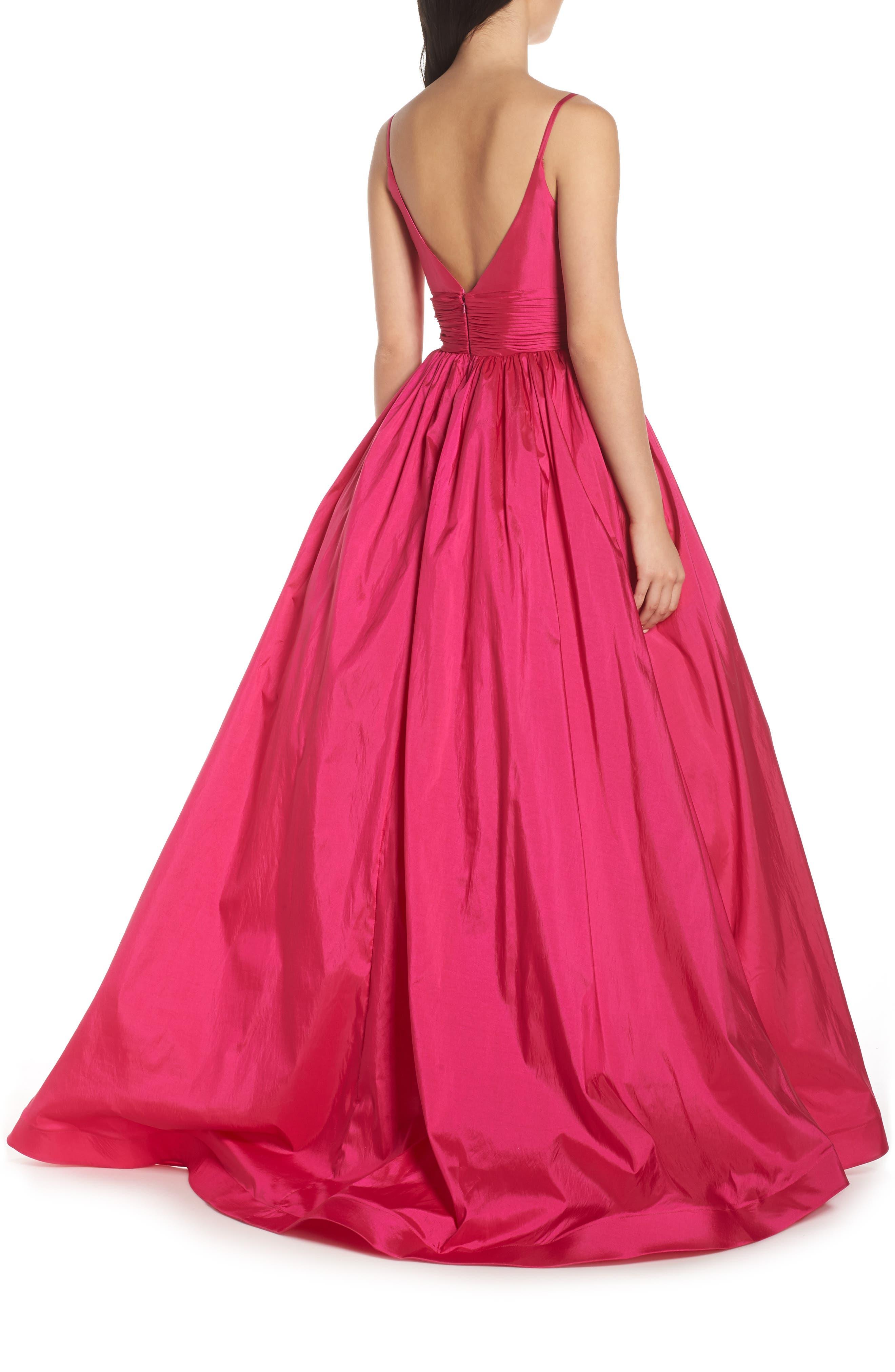 MAC DUGGAL, V-Neck Satin Evening Dress, Alternate thumbnail 2, color, MAGENTA