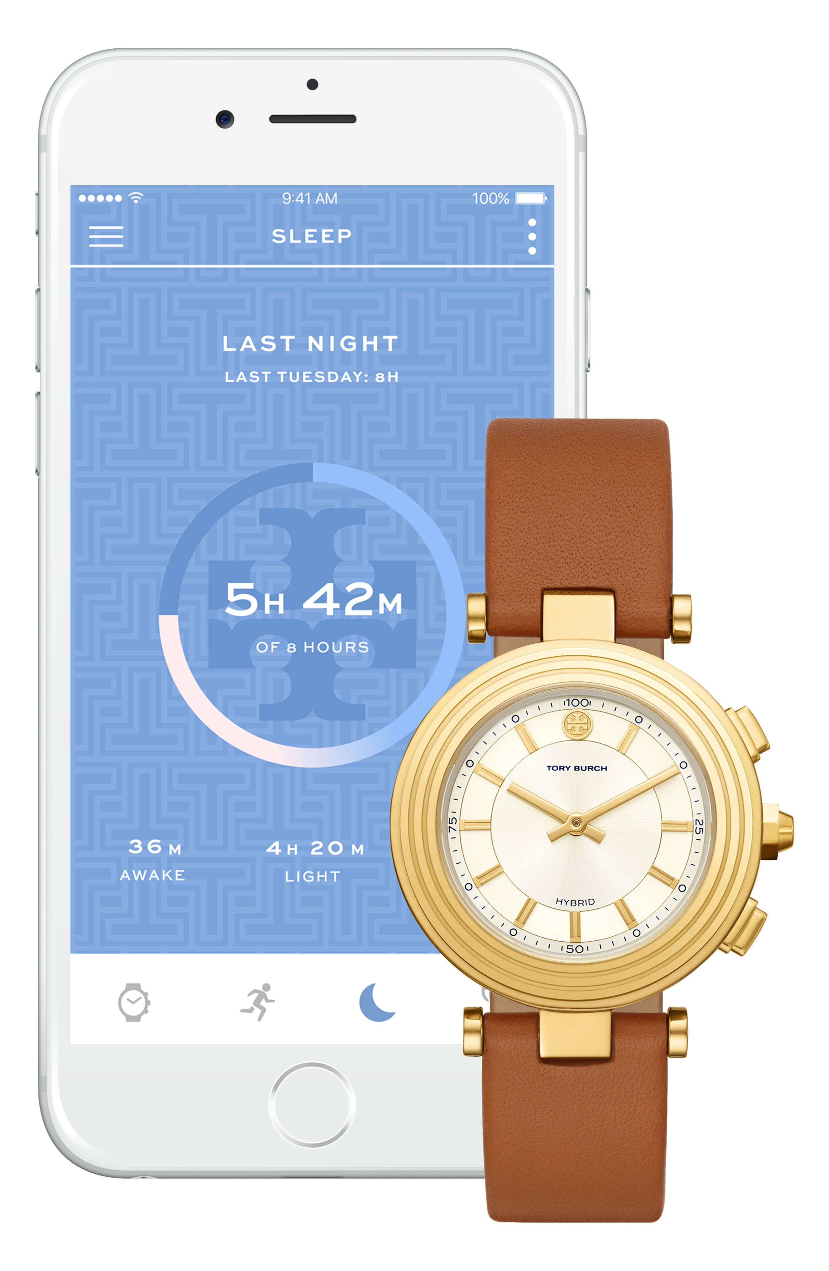 TORY BURCH, ToryTrack Hybrid Smart Watch, 36mm x 46mm, Alternate thumbnail 3, color, BROWN/ WHITE/ GOLD