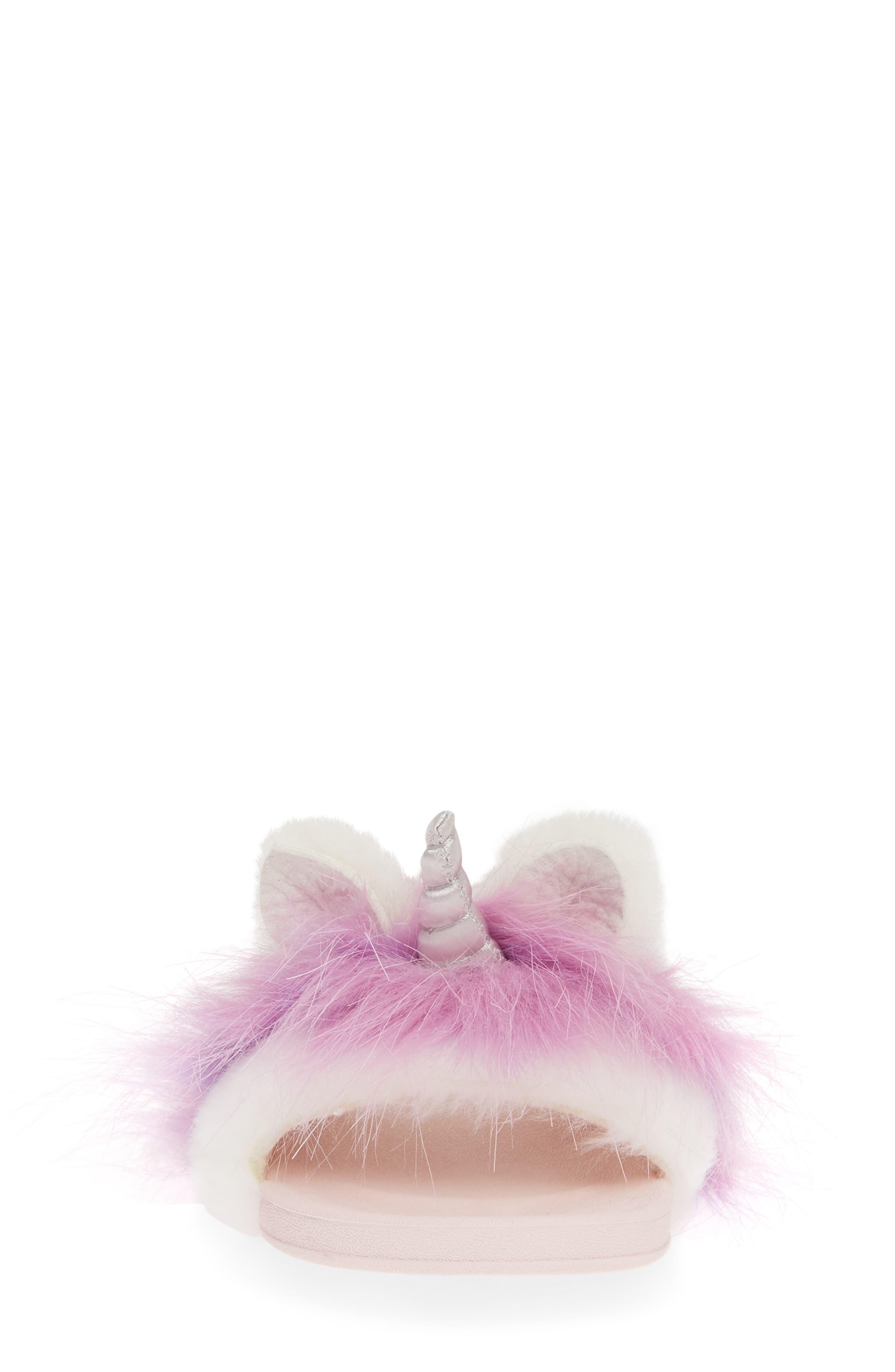 UGG<SUP>®</SUP>, Rainbow Unicorn Faux Fur & Genuine Calf Hair Slide Sandal, Alternate thumbnail 4, color, MULTI