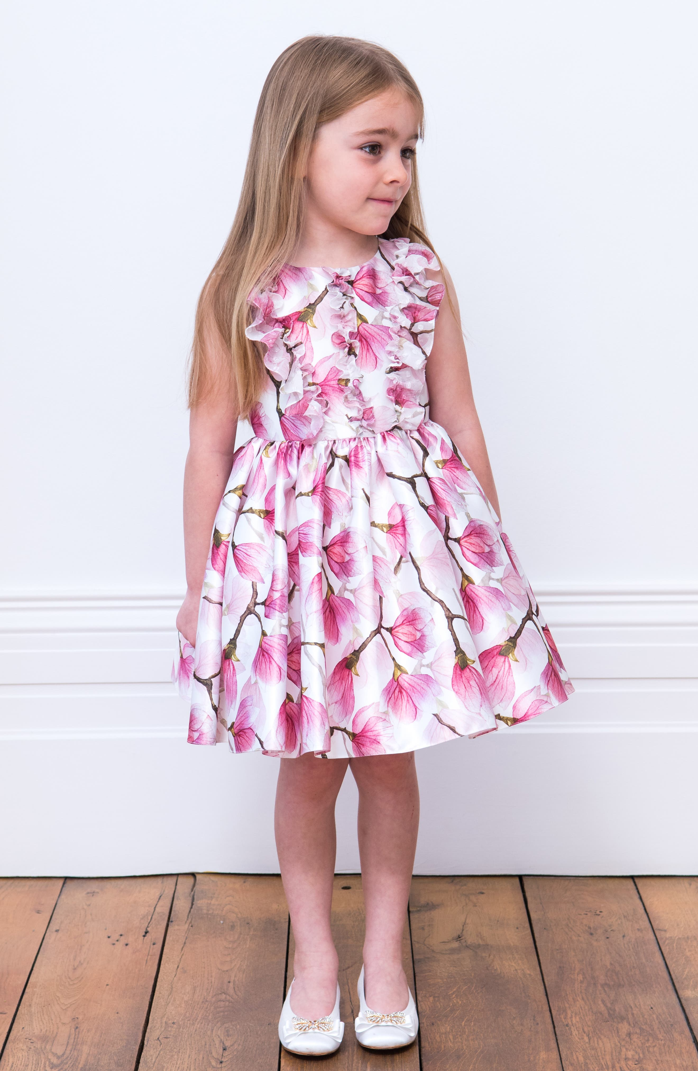 DAVID CHARLES, Floral Ruffle Party Dress, Alternate thumbnail 3, color, PINK