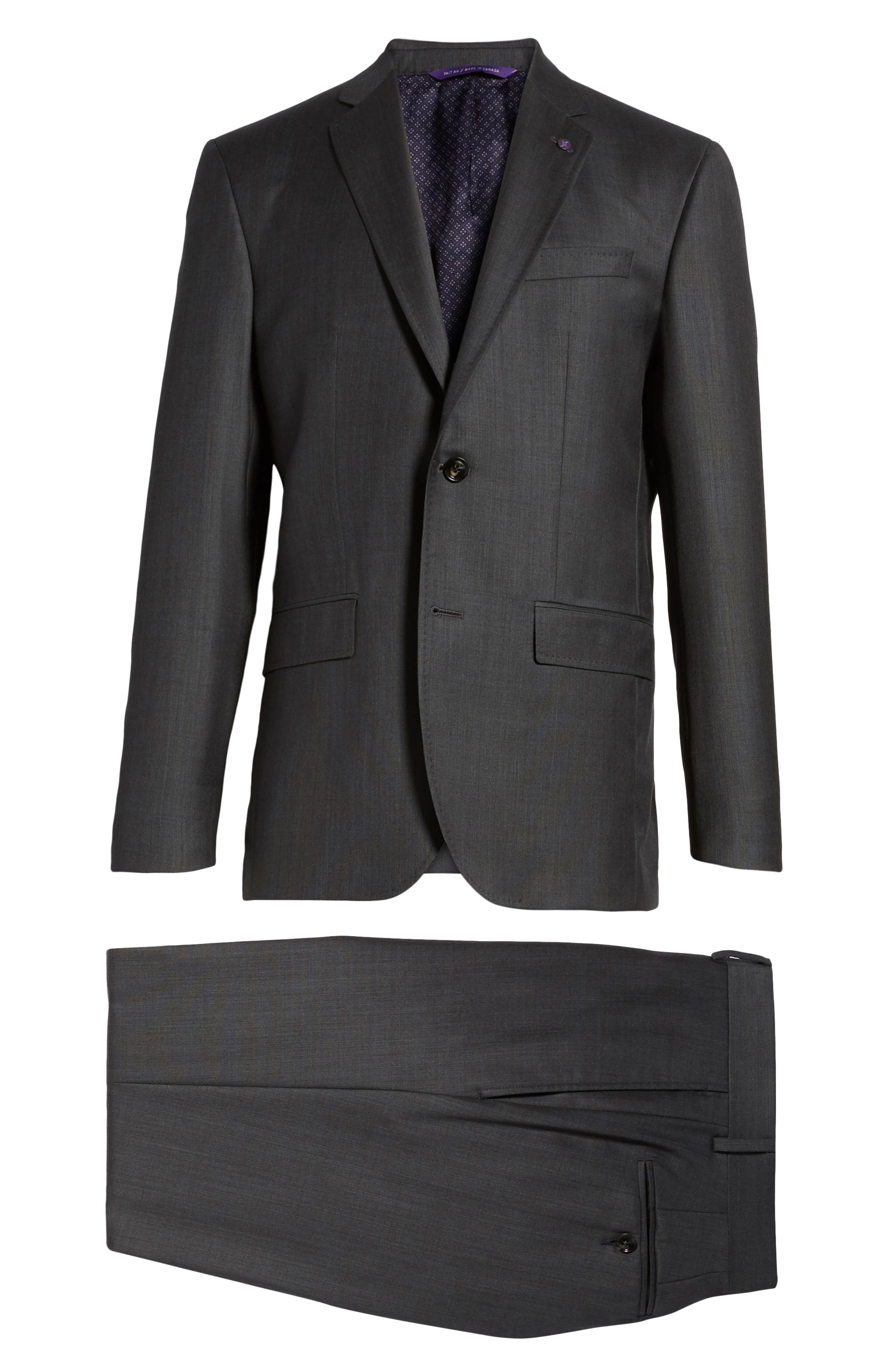 TED BAKER LONDON, ay' Trim Fit Solid Wool Suit, Alternate thumbnail 7, color, CHARCOAL