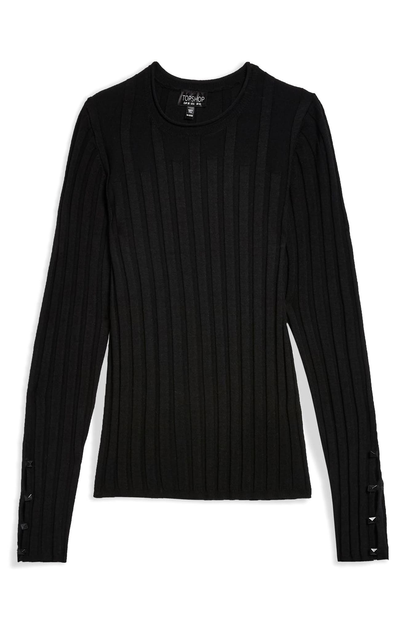 TOPSHOP, Ribbed Sweater, Alternate thumbnail 3, color, BLACK