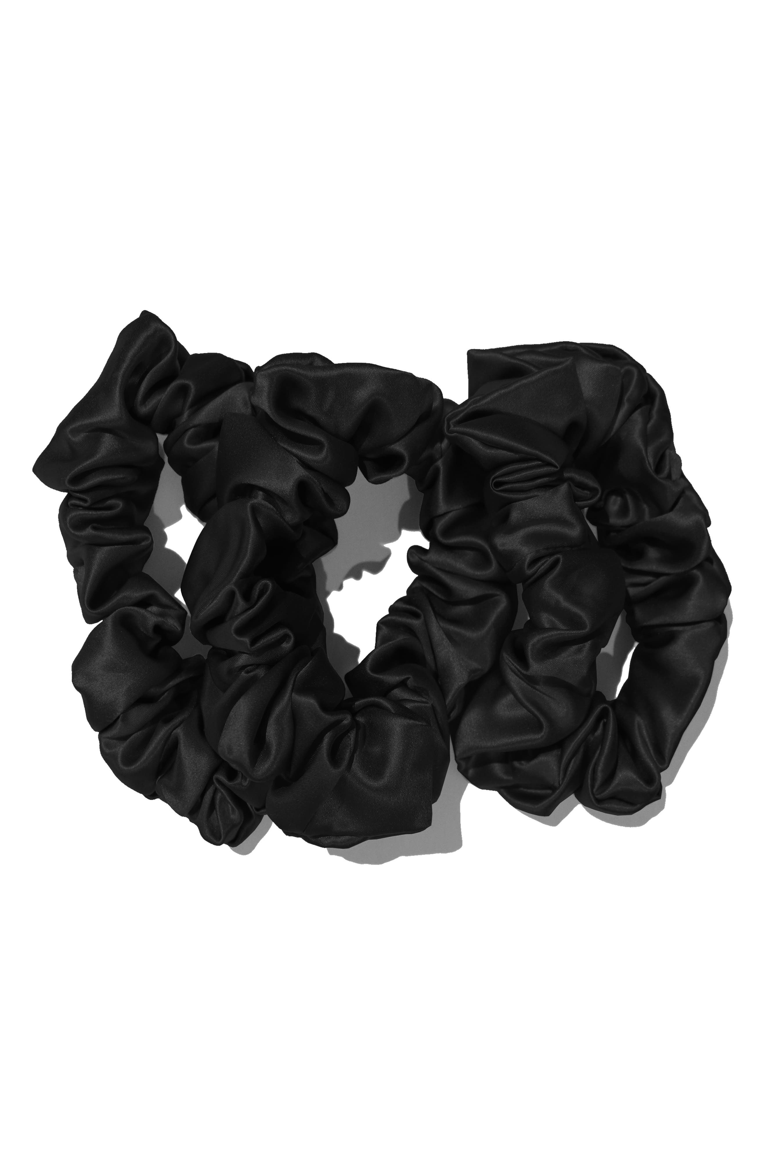 SLIP FOR BEAUTY SLEEP, slip<sup>™</sup> for beauty sleep 3-Pack Slipsilk<sup>™</sup> Hair Ties, Main thumbnail 1, color, BLACK