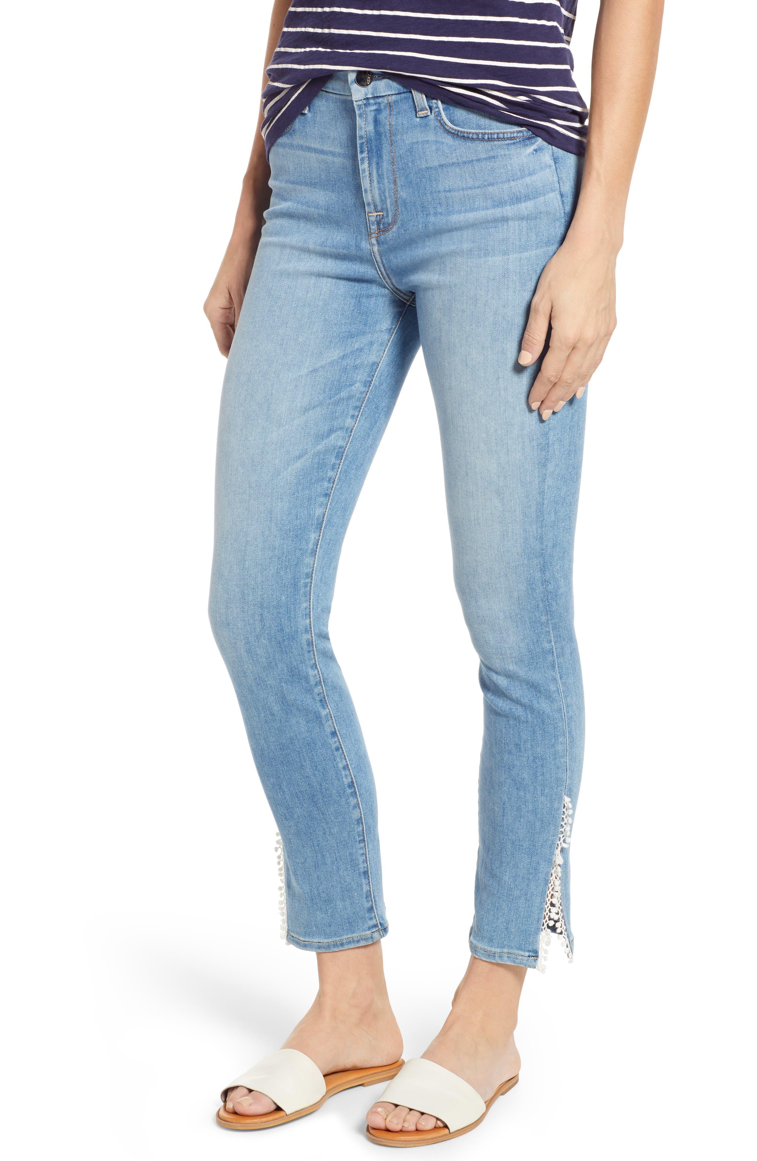 JEN7 BY 7 FOR ALL MANKIND, Pompom Detail Crop Skinny Jeans, Main thumbnail 1, color, LA QUINTA POM POM