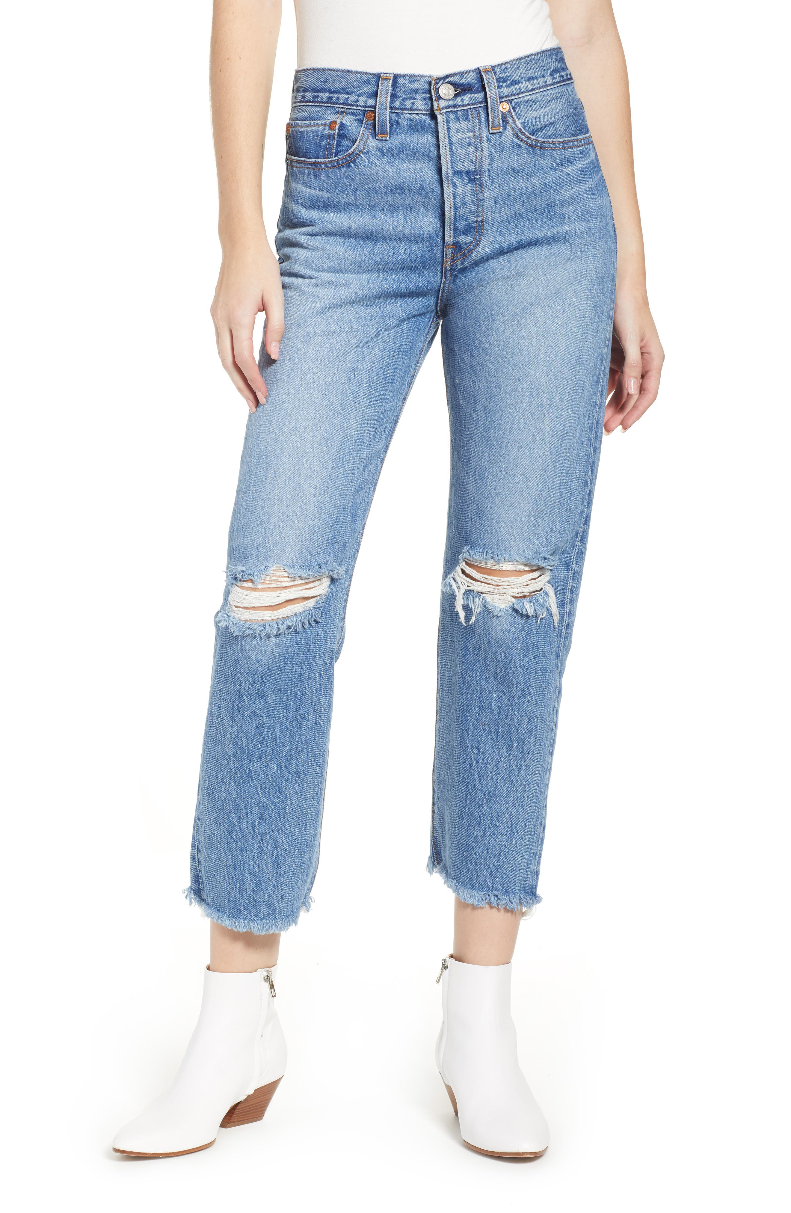 LEVI'S<SUP>®</SUP>, Wedgie High Waist Ripped Crop Straight Leg Jeans, Main thumbnail 1, color, UNCOVERED TRUTH