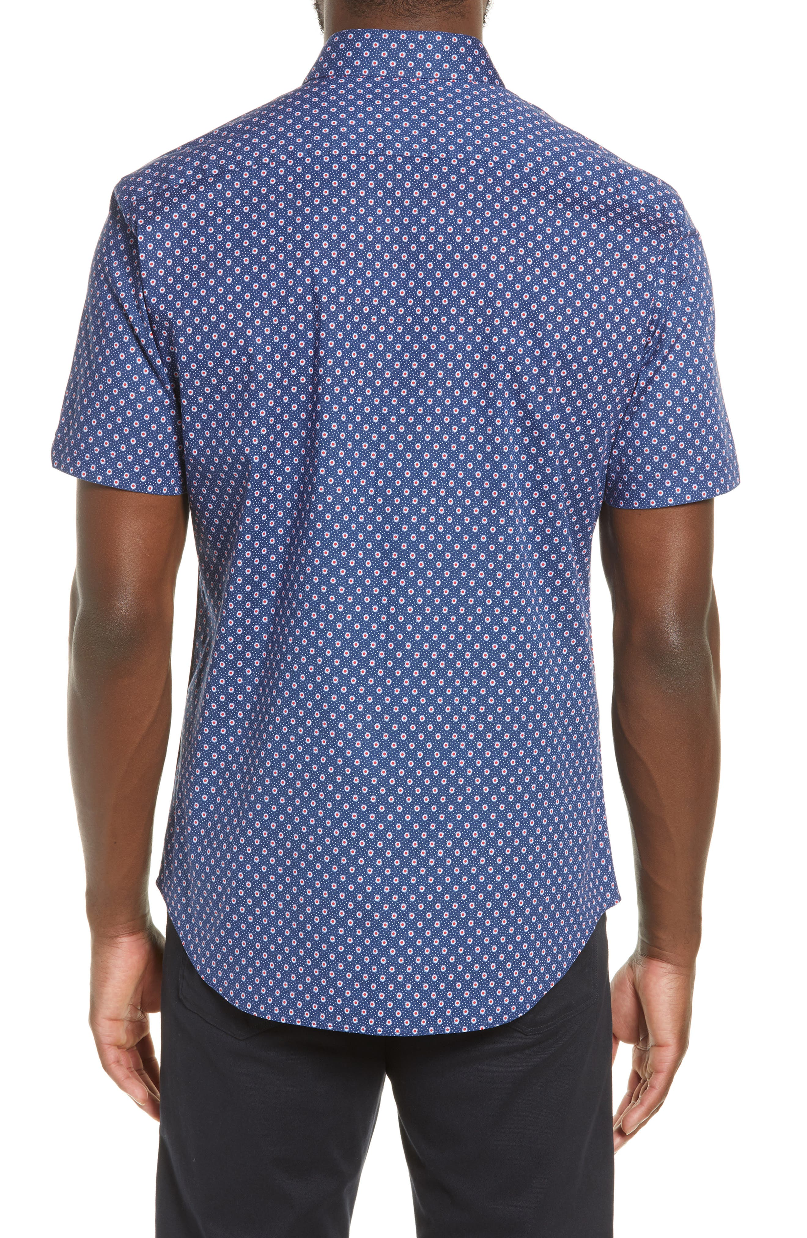 ZACHARY PRELL, Murray Regular Fit Print Sport Shirt, Alternate thumbnail 3, color, BLUE