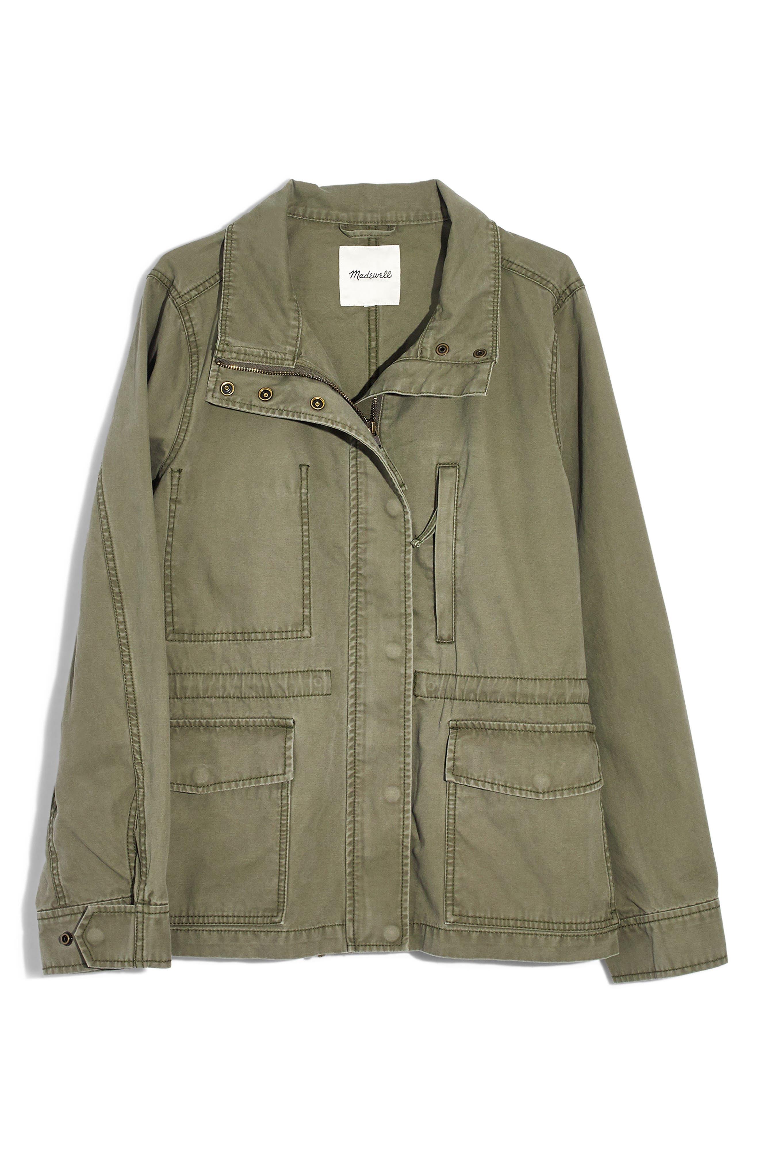 MADEWELL, Surplus Cotton Jacket, Alternate thumbnail 6, color, DESERT OLIVE