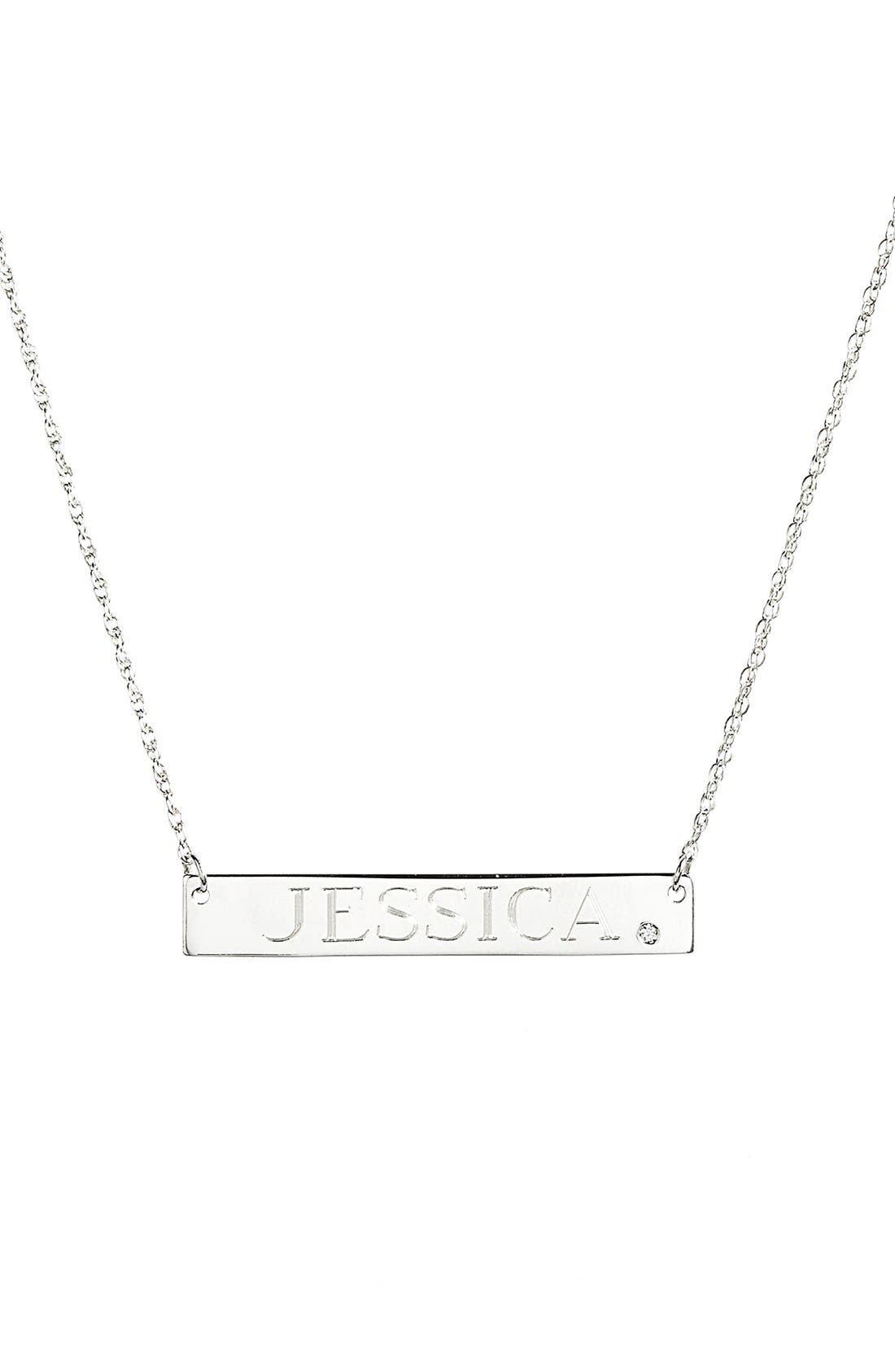 JANE BASCH DESIGNS, Diamond & Personalized Nameplate Pendant Necklace, Main thumbnail 1, color, 040