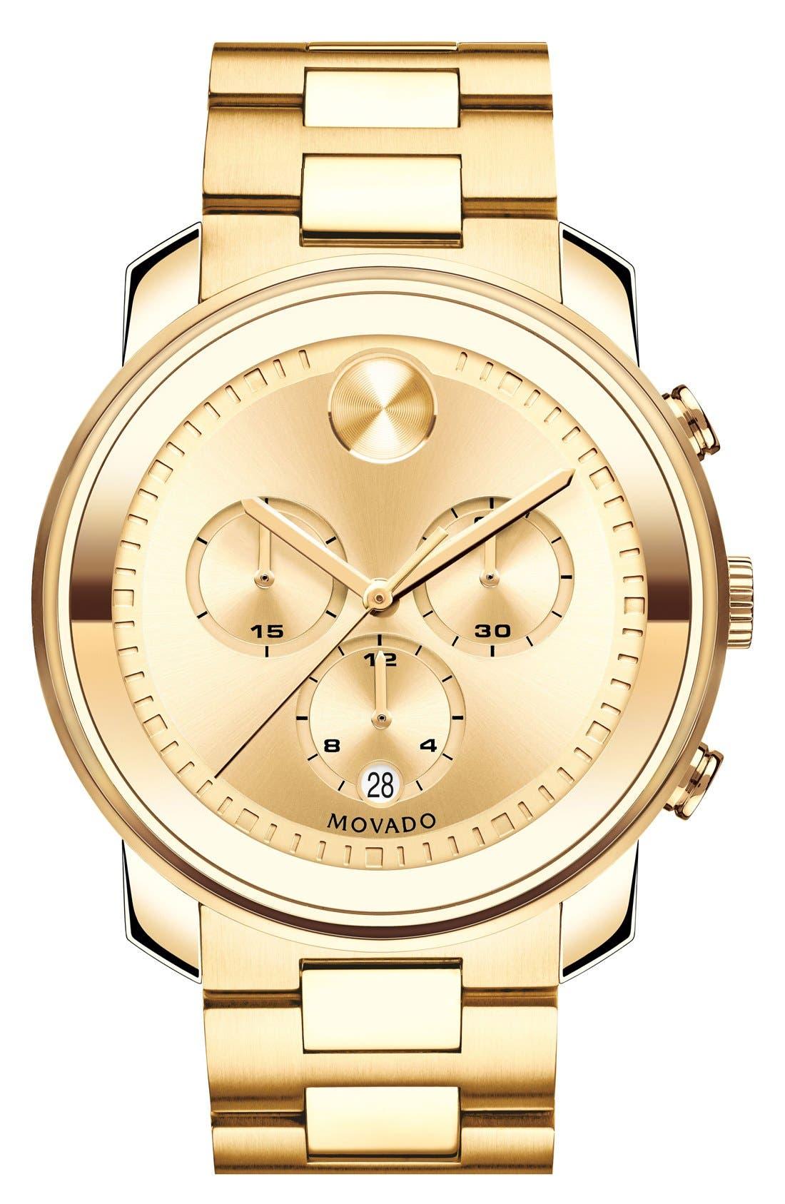 MOVADO, 'Bold' Chronograph Bracelet Watch, 44mm, Main thumbnail 1, color, GOLD