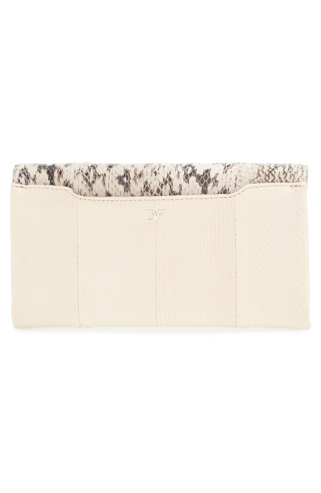 DIANE VON FURSTENBERG, '440' Genuine Snakeskin Envelope Clutch, Alternate thumbnail 4, color, 100