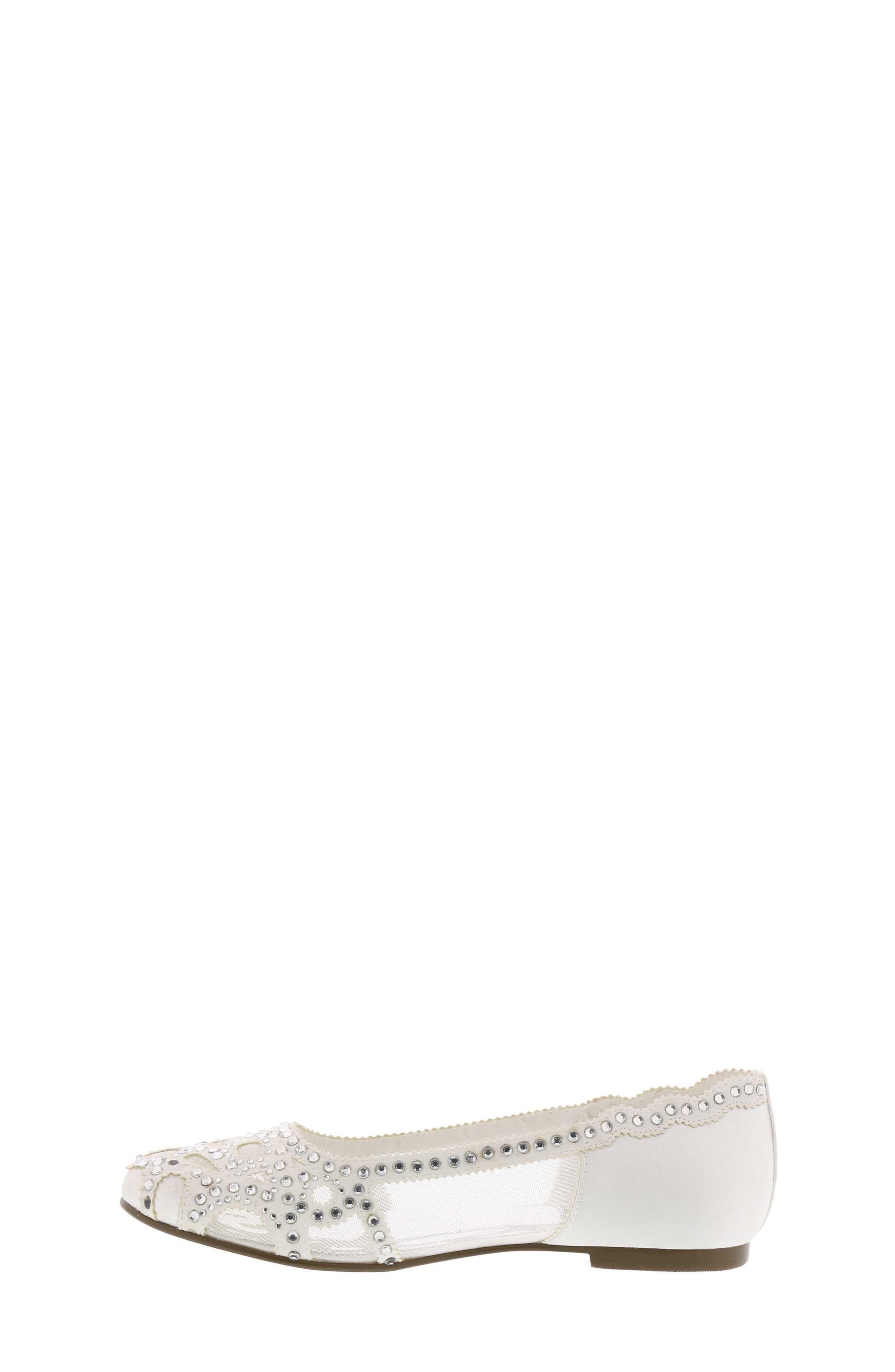 BADGLEY MISCHKA COLLECTION, Badgley Mischka Gigi Embellished Flat, Alternate thumbnail 2, color, WHITE