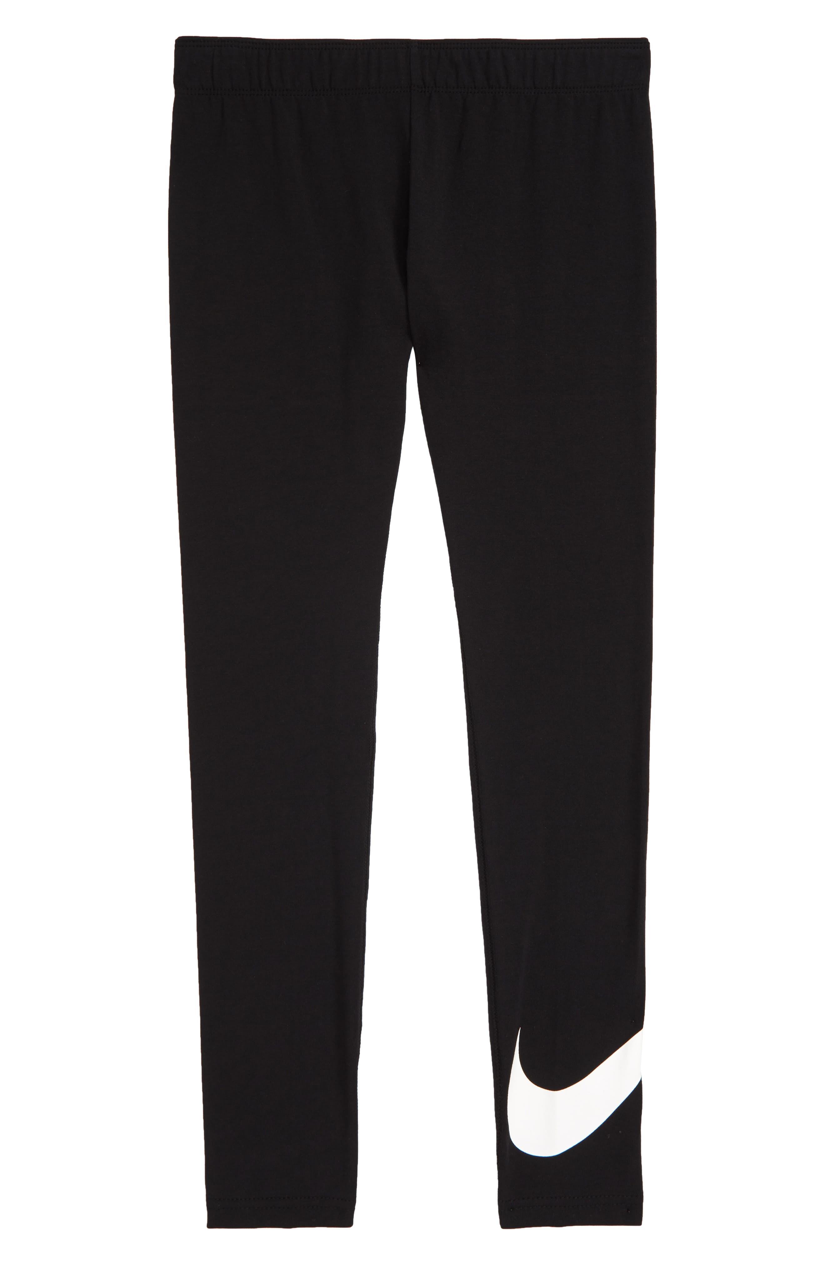 NIKE, Sportswear Swoosh Leggings, Main thumbnail 1, color, BLACK/ WHITE