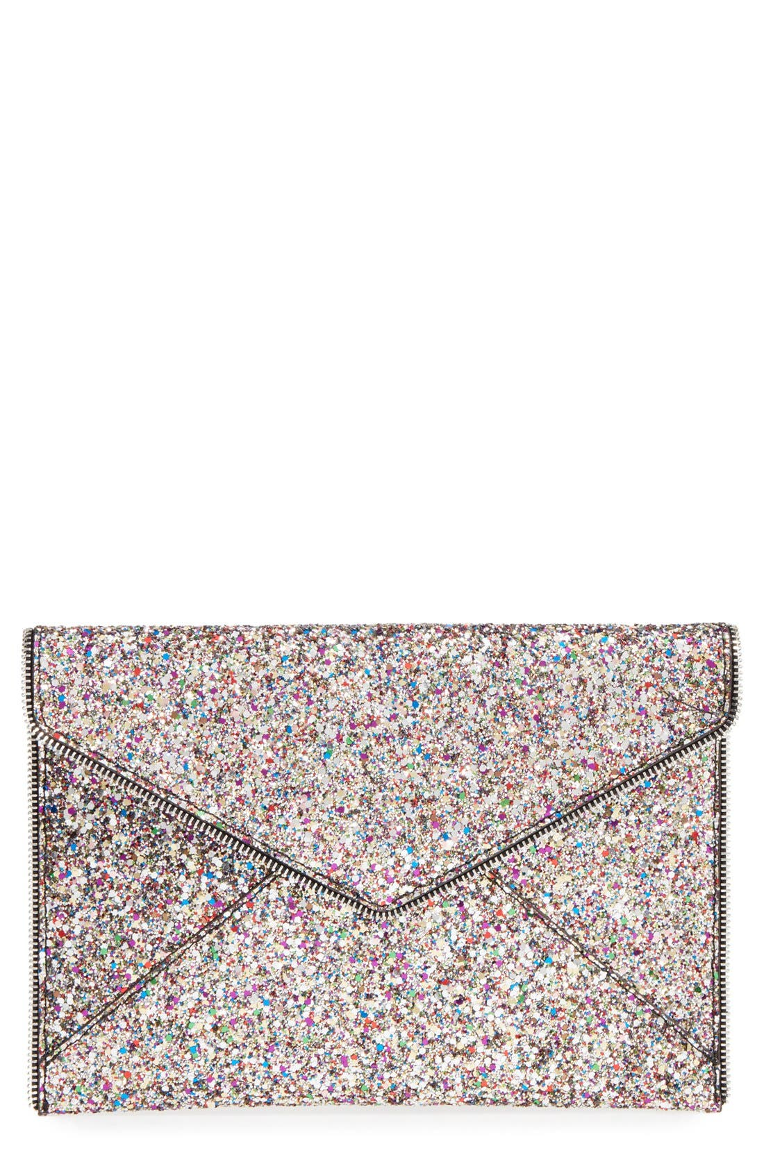 REBECCA MINKOFF, 'Leo' Envelope Clutch, Main thumbnail 1, color, SILVER/ SILVER HRDWR