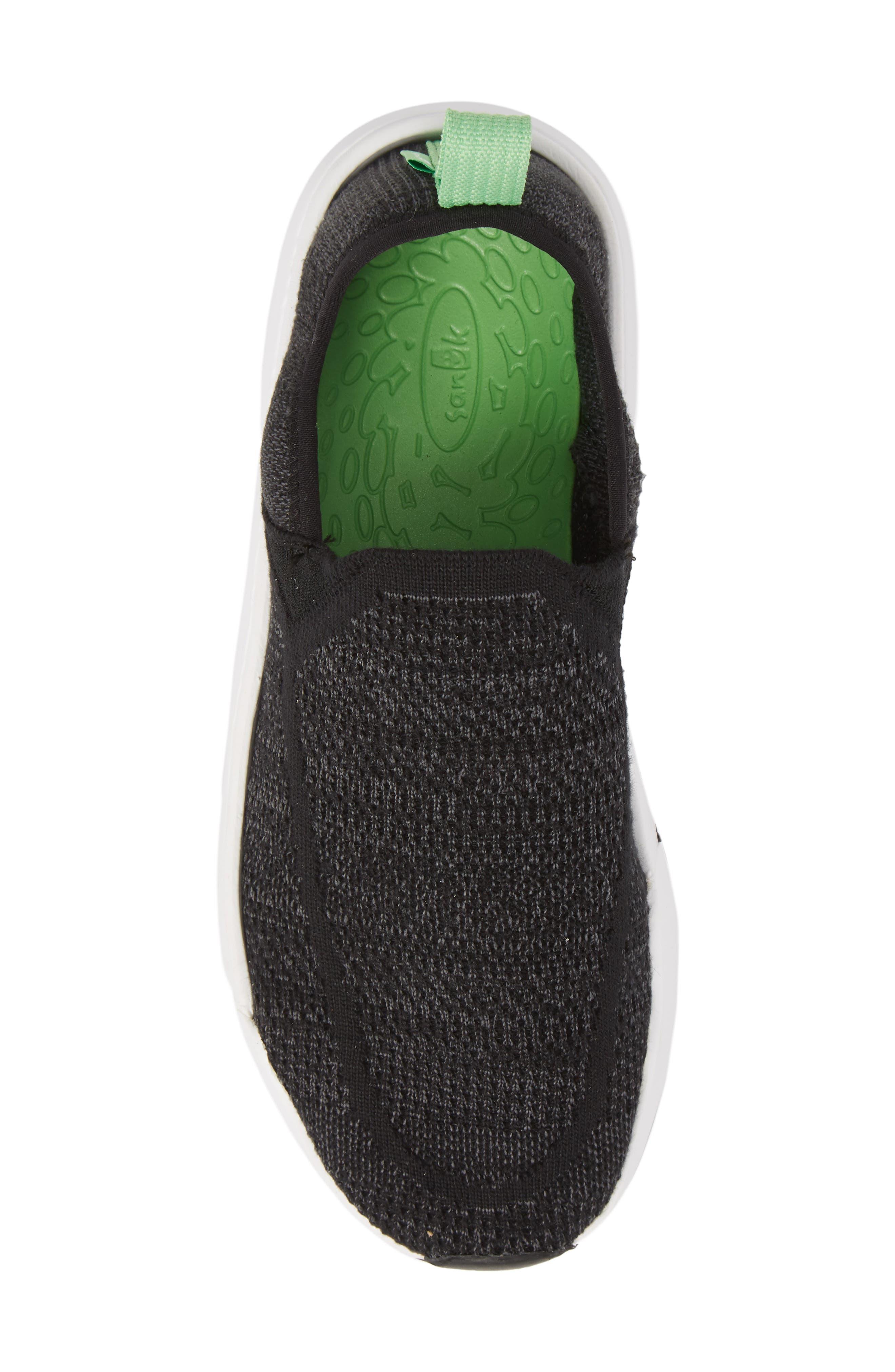 SANUK, Chiba Quest Knit Slip-On Sneaker, Alternate thumbnail 5, color, BLACK