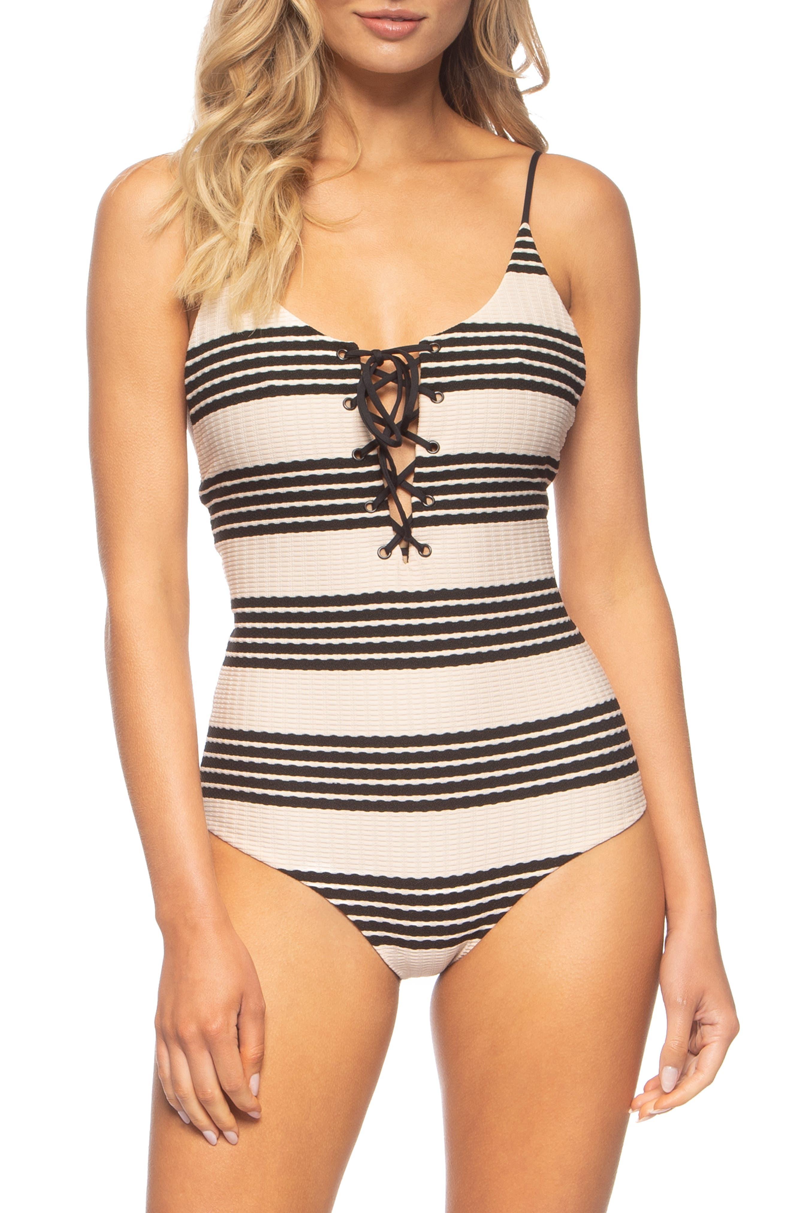 TAVIK, Monahan One-Piece Swimsuit, Main thumbnail 1, color, SEASHELL/ BLACK