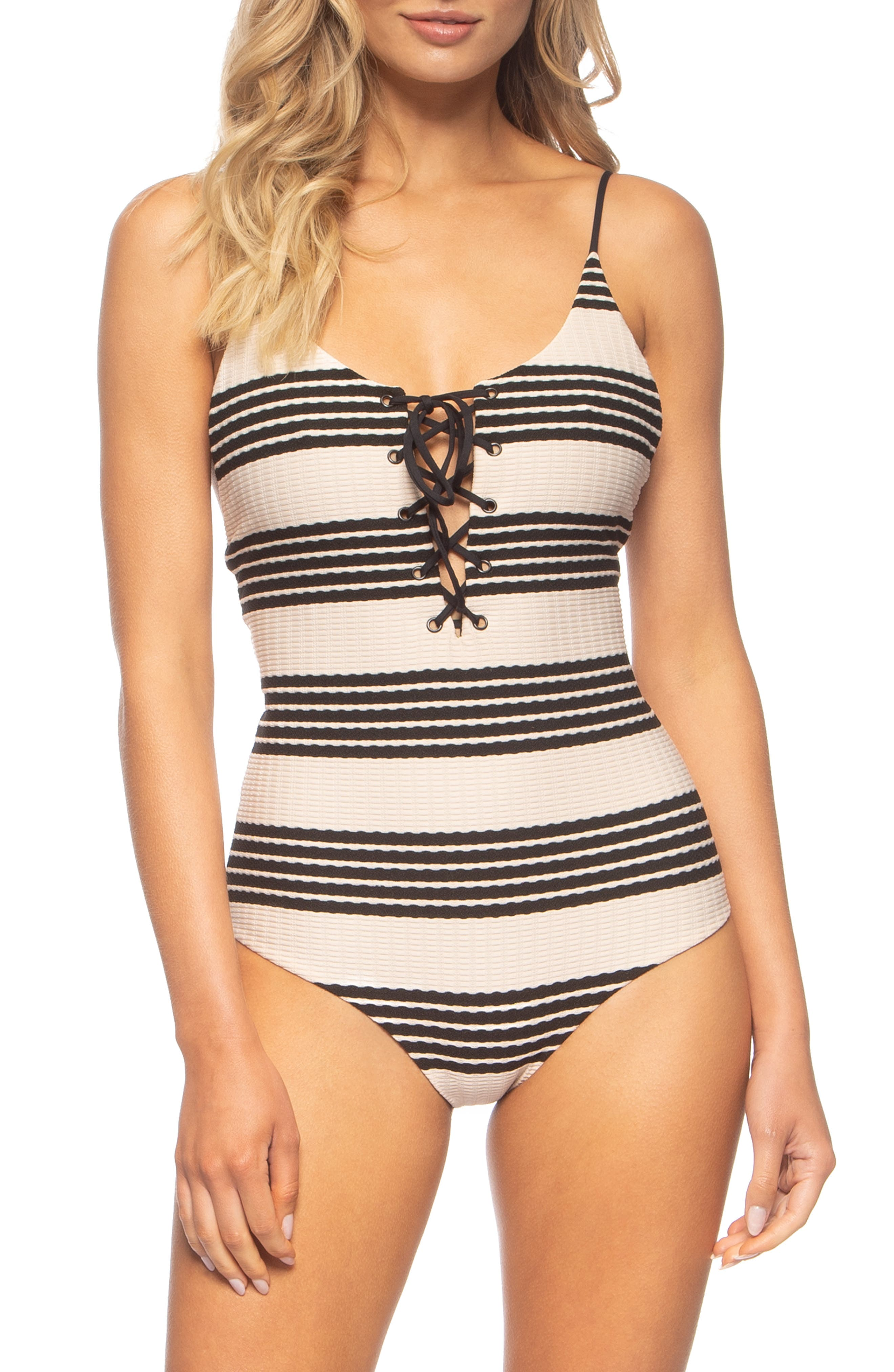 TAVIK Monahan One-Piece Swimsuit, Main, color, SEASHELL/ BLACK