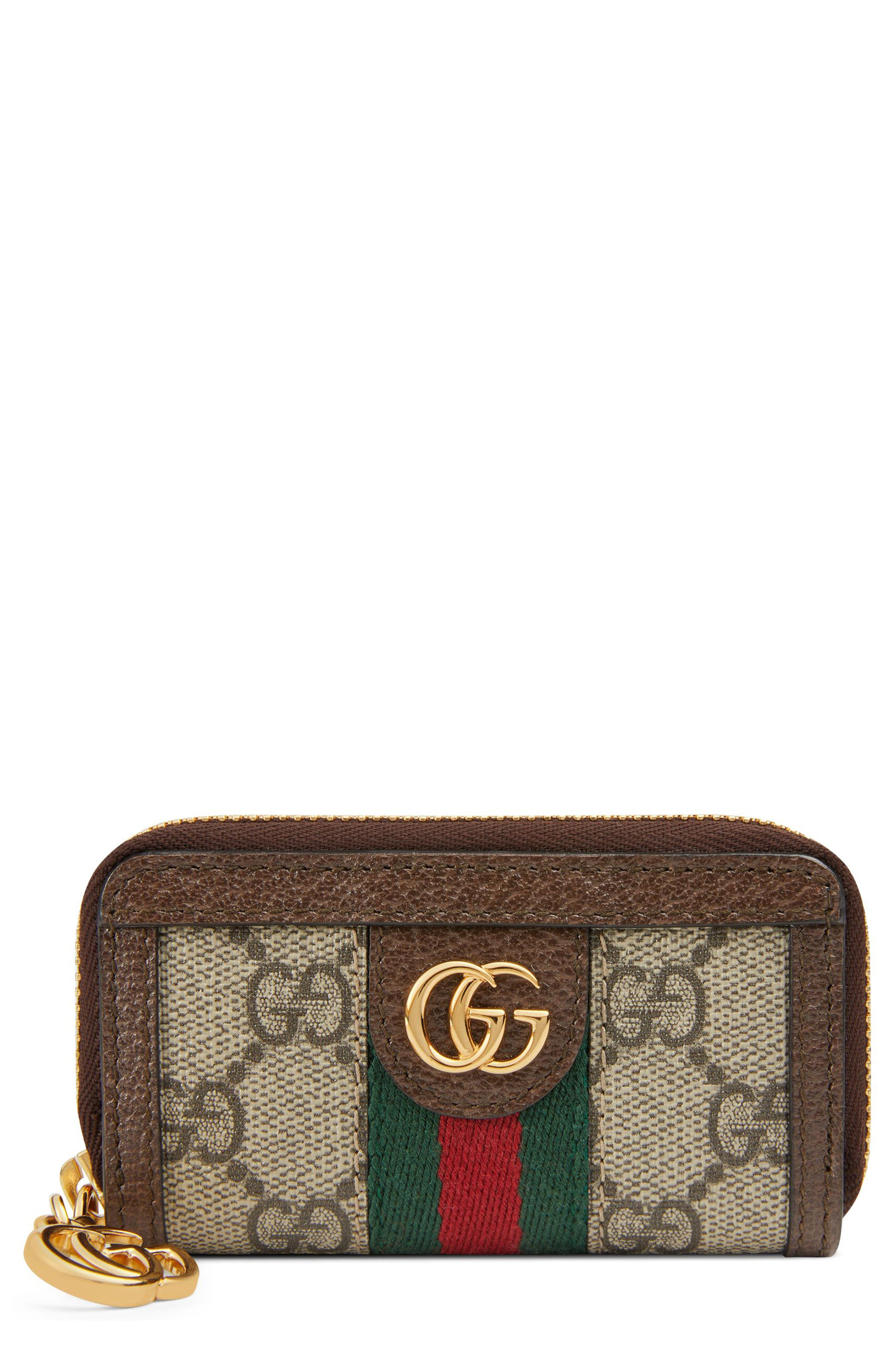 GUCCI, Ophidia GG Supreme Zip-Around Key Case, Main thumbnail 1, color, BEIGE EBONY/ ACERO/ VERT RED