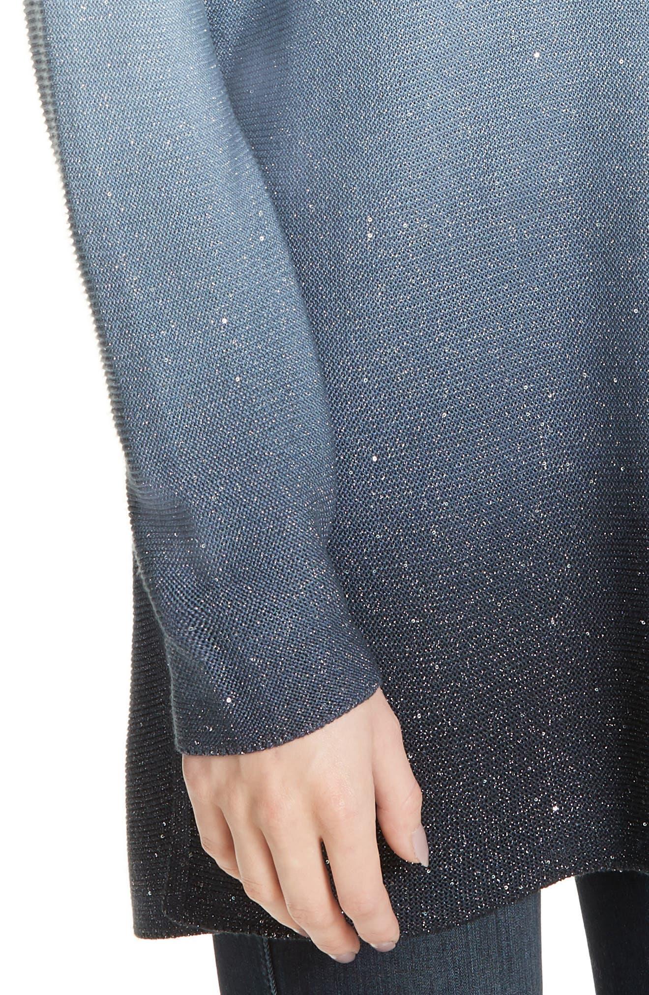 LAFAYETTE 148 NEW YORK, Sequin Ombré Silk Blend Tunic, Alternate thumbnail 4, color, SLATE BLUE MULTI