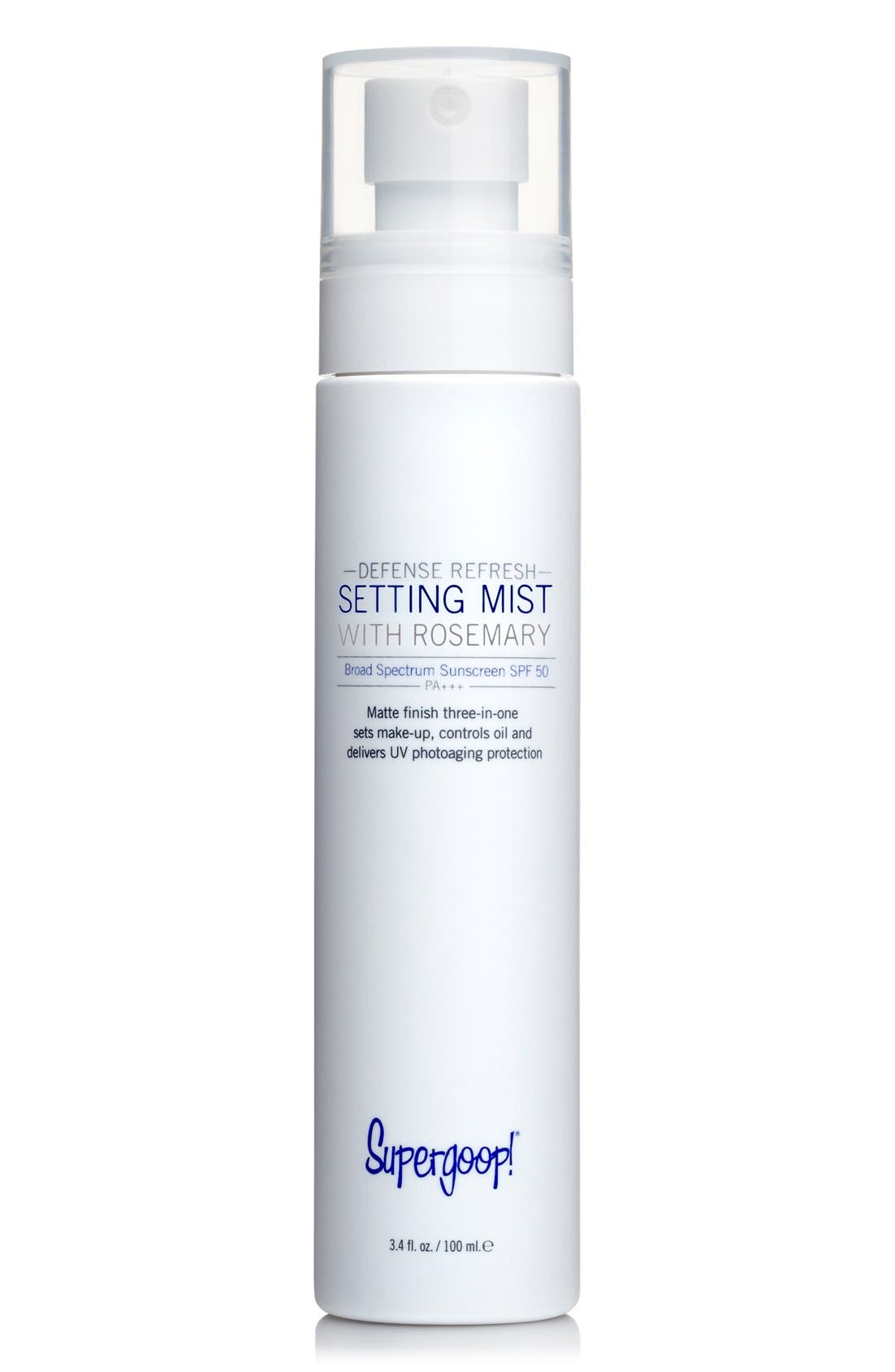 SUPERGOOP!<SUP>®</SUP>, Supergoop! Defense Refresh Setting Mist with Rosemary SPF 50, Main thumbnail 1, color, 000