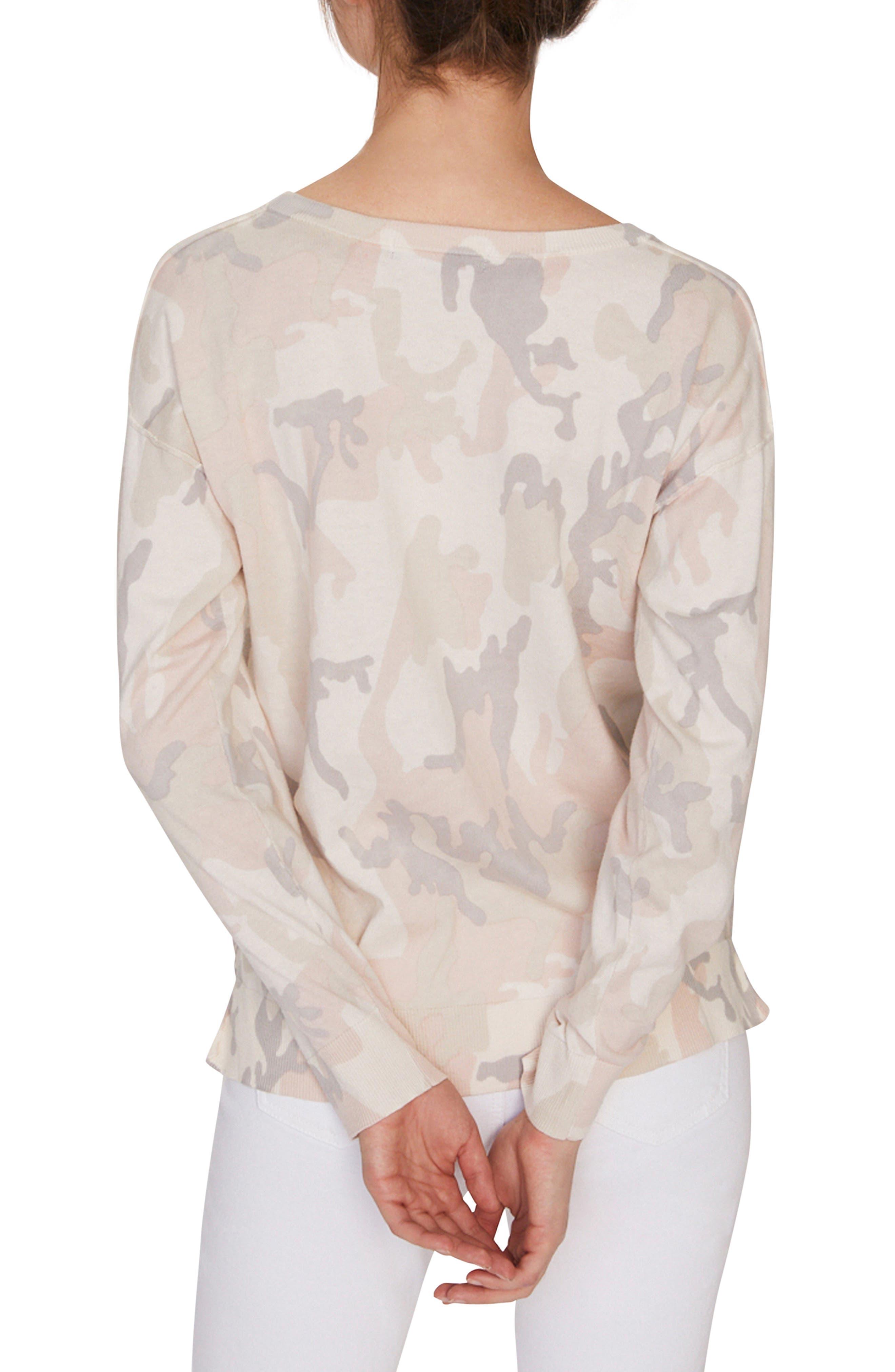 SANCTUARY, Pale Camo Cotton Blend Sweater, Alternate thumbnail 2, color, CHARM CAMO