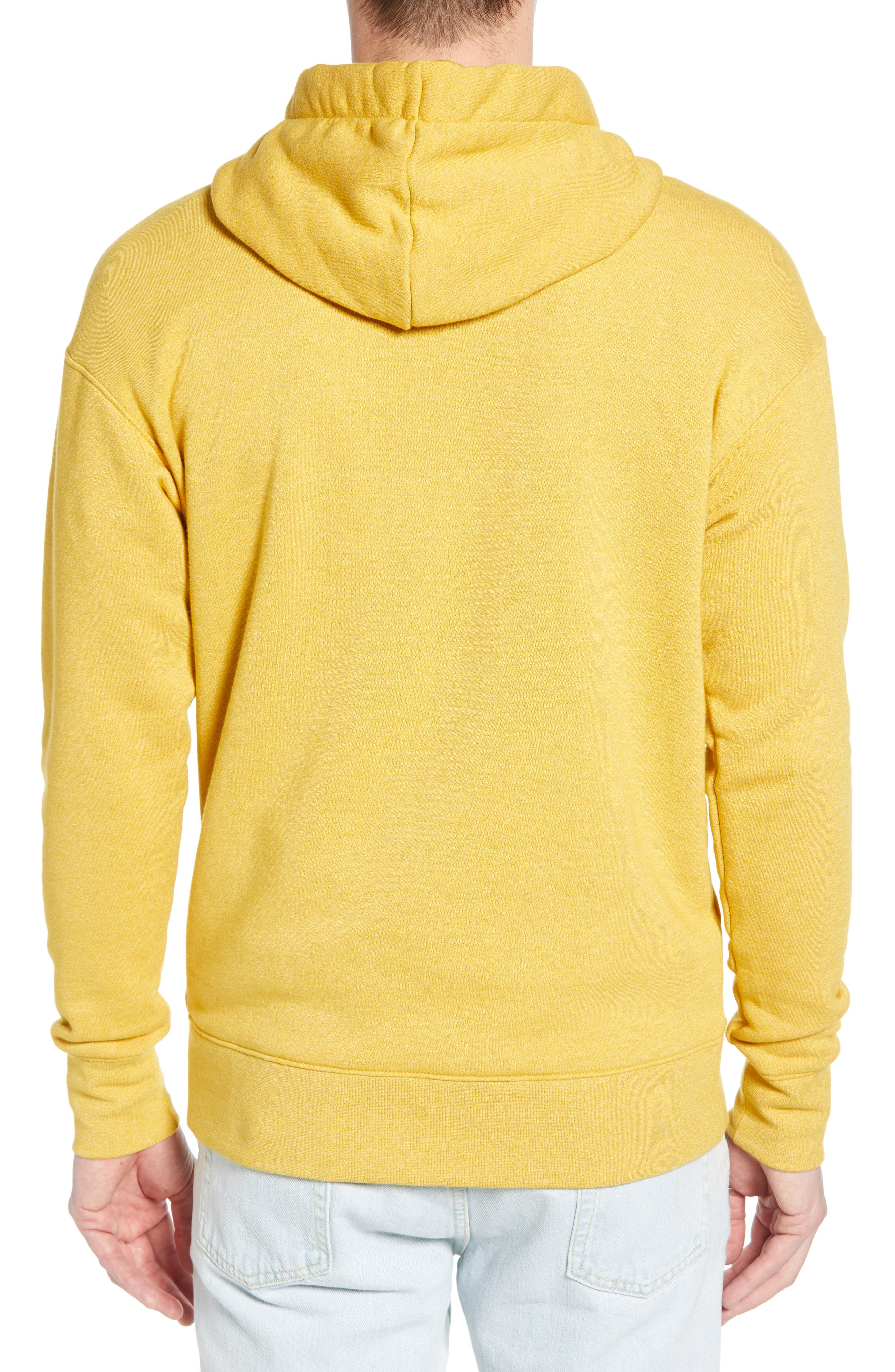 NIKE, Heritage Logo Hoodie, Alternate thumbnail 2, color, GOLD DART/ HEATHER