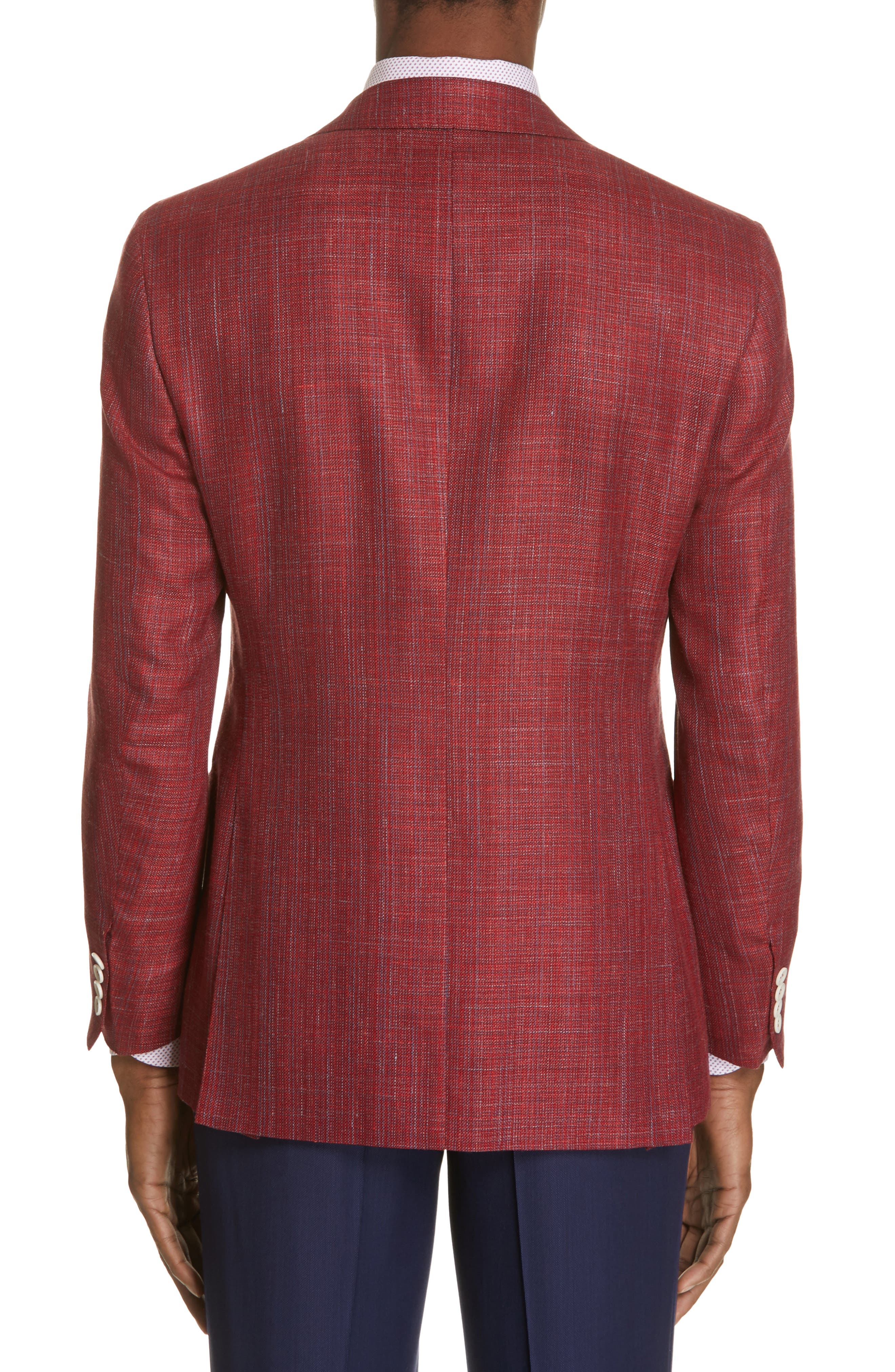 CANALI, Siena Classic Fit Wool, Silk & Linen Blend Sport Coat, Alternate thumbnail 2, color, RED