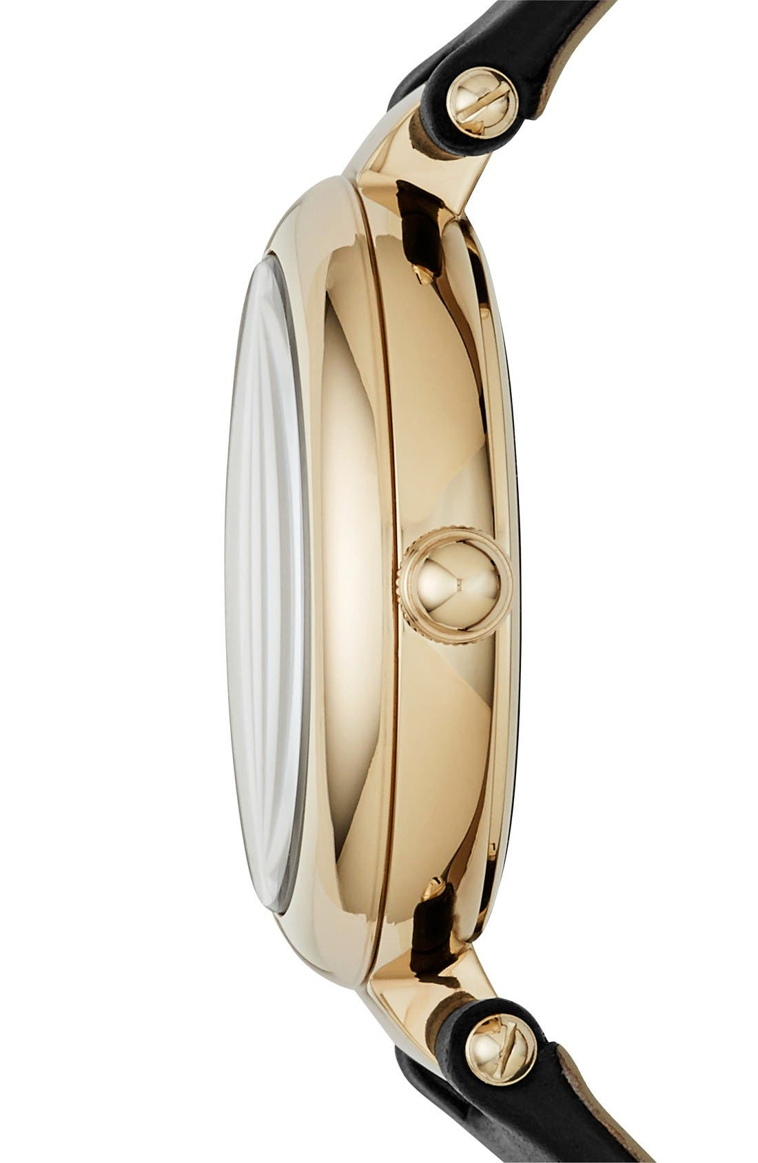 MARC JACOBS, 'Dotty' Leather Strap Watch,34mm, Alternate thumbnail 2, color, 001