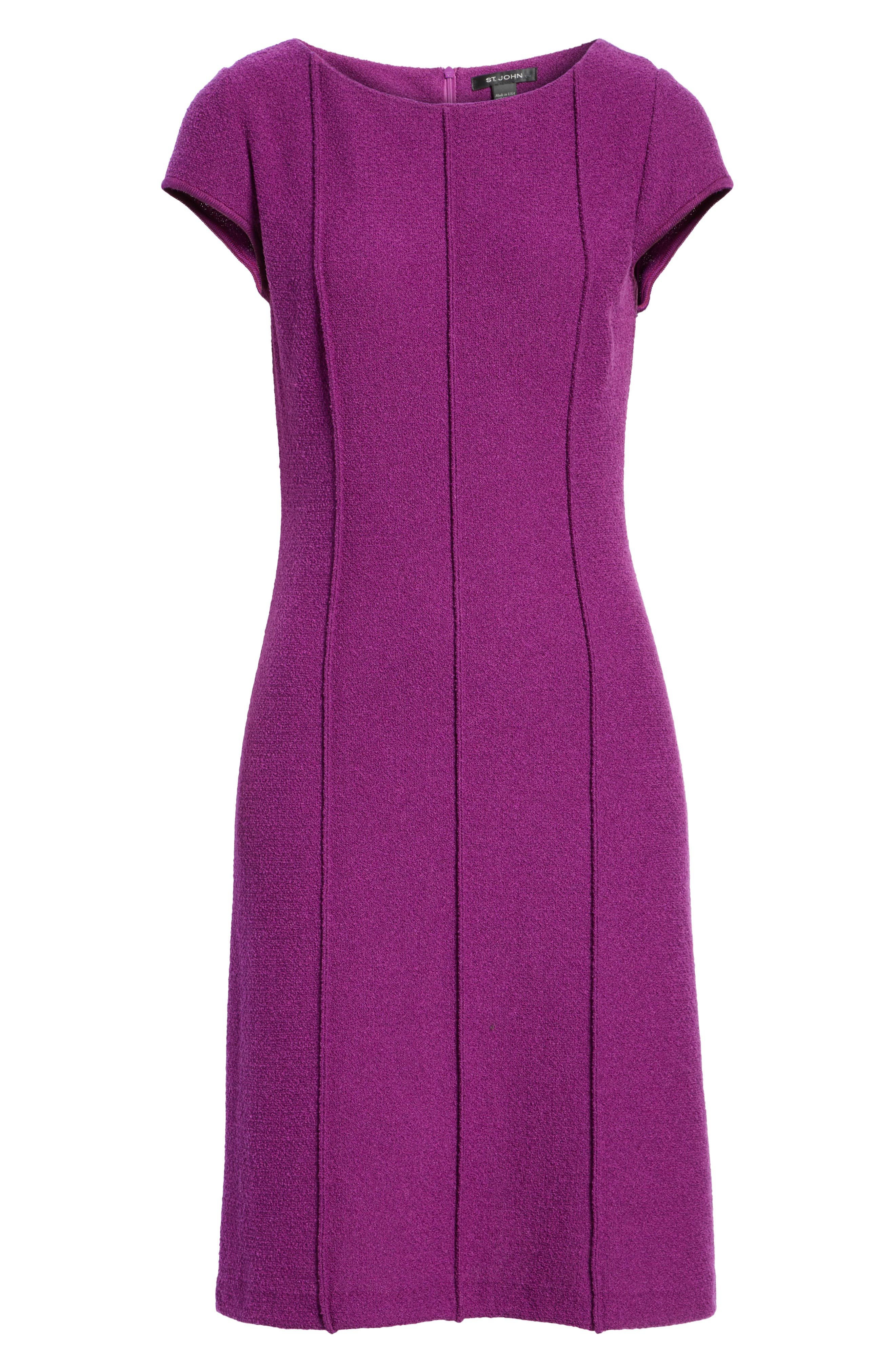 ST. JOHN COLLECTION, Ana Bouclé Knit Dress, Alternate thumbnail 6, color, IRIS