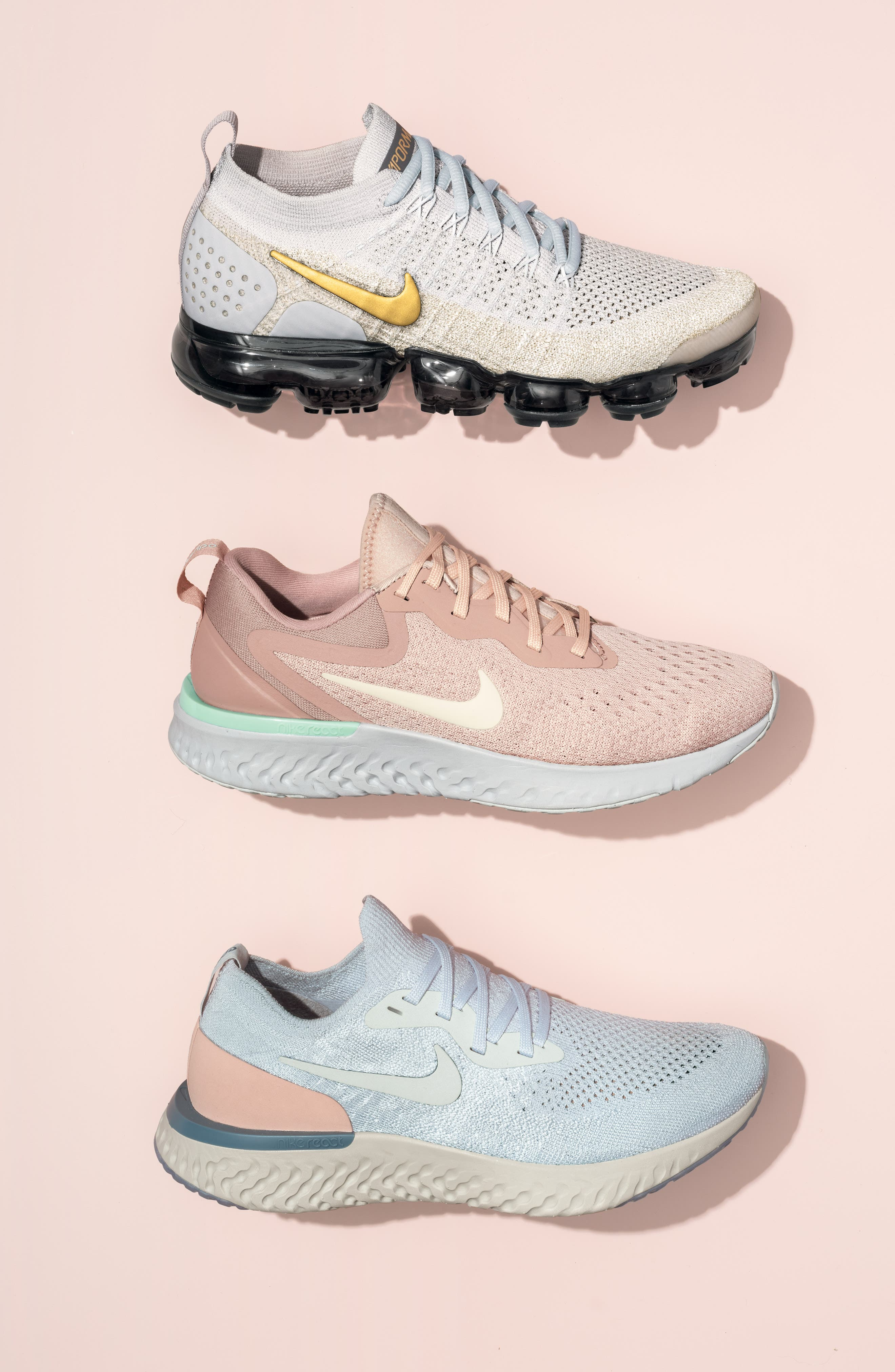 NIKE, Air VaporMax Flyknit 2 Running Shoe, Alternate thumbnail 7, color, ROSE GOLD/ BIO BEIGE