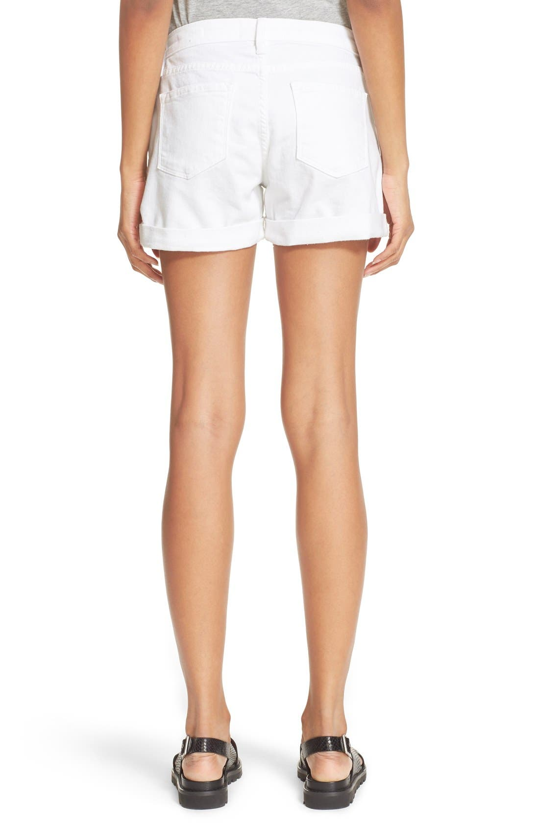 FRAME, Le Cutoff Cuffed Jean Shorts, Alternate thumbnail 4, color, BLANC