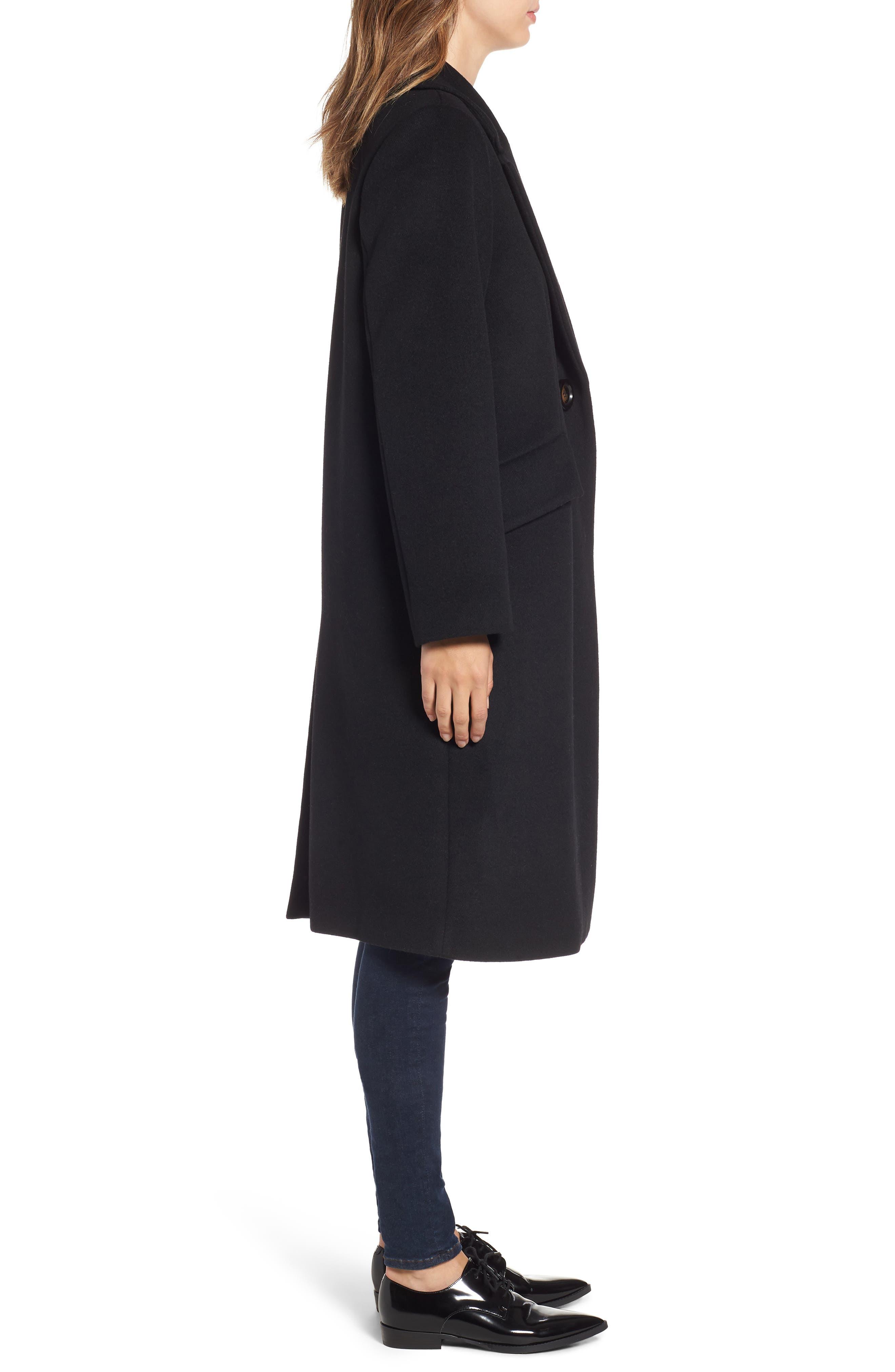 RACHEL RACHEL ROY, Wool Blend Coat, Alternate thumbnail 4, color, BLACK