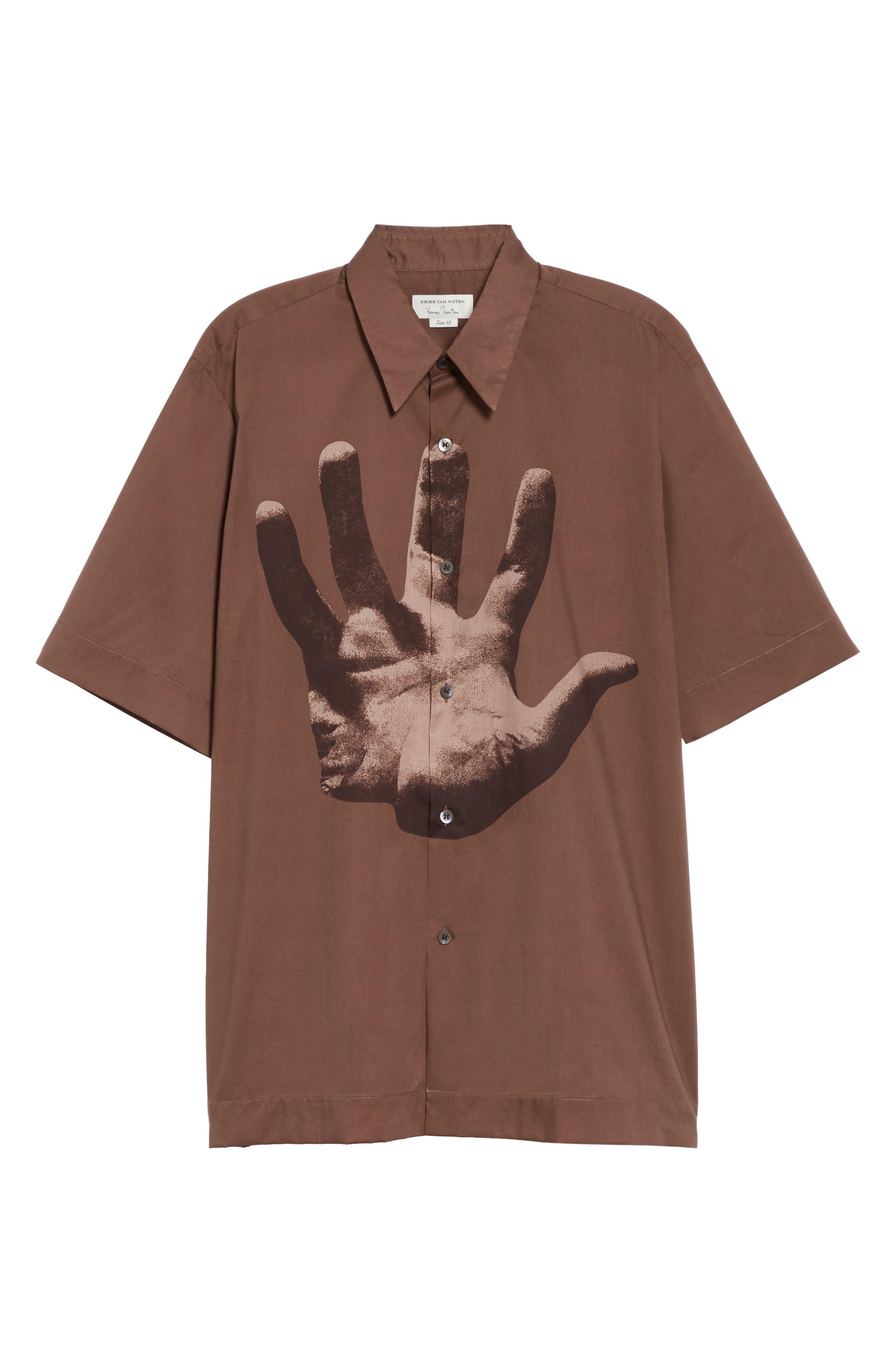 DRIES VAN NOTEN, Clasen Hand Print Shirt, Alternate thumbnail 5, color, BROWN
