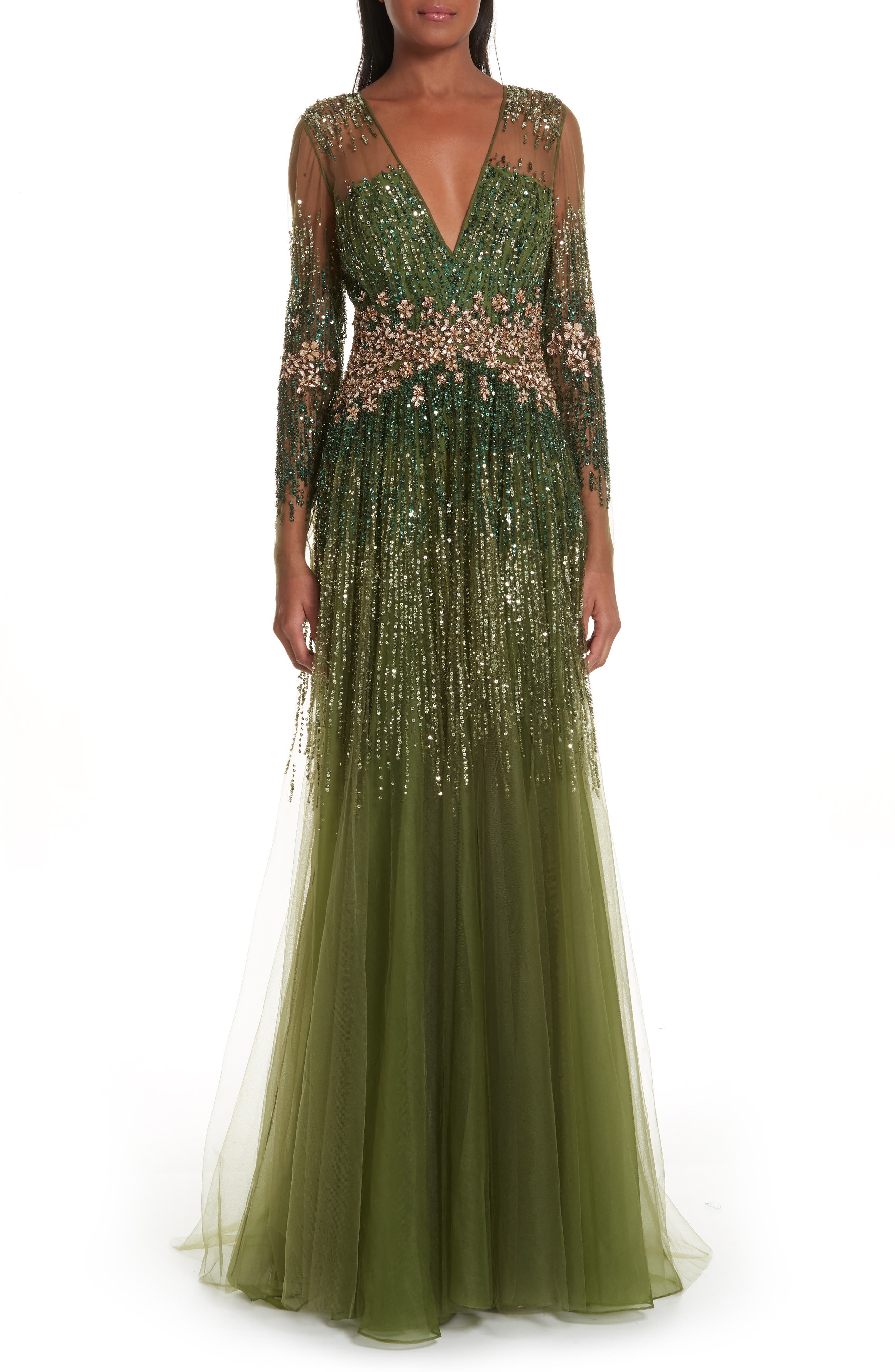 PAMELLA ROLAND, Crystal Embellished A-Line Gown, Main thumbnail 1, color, SAGE MULTI