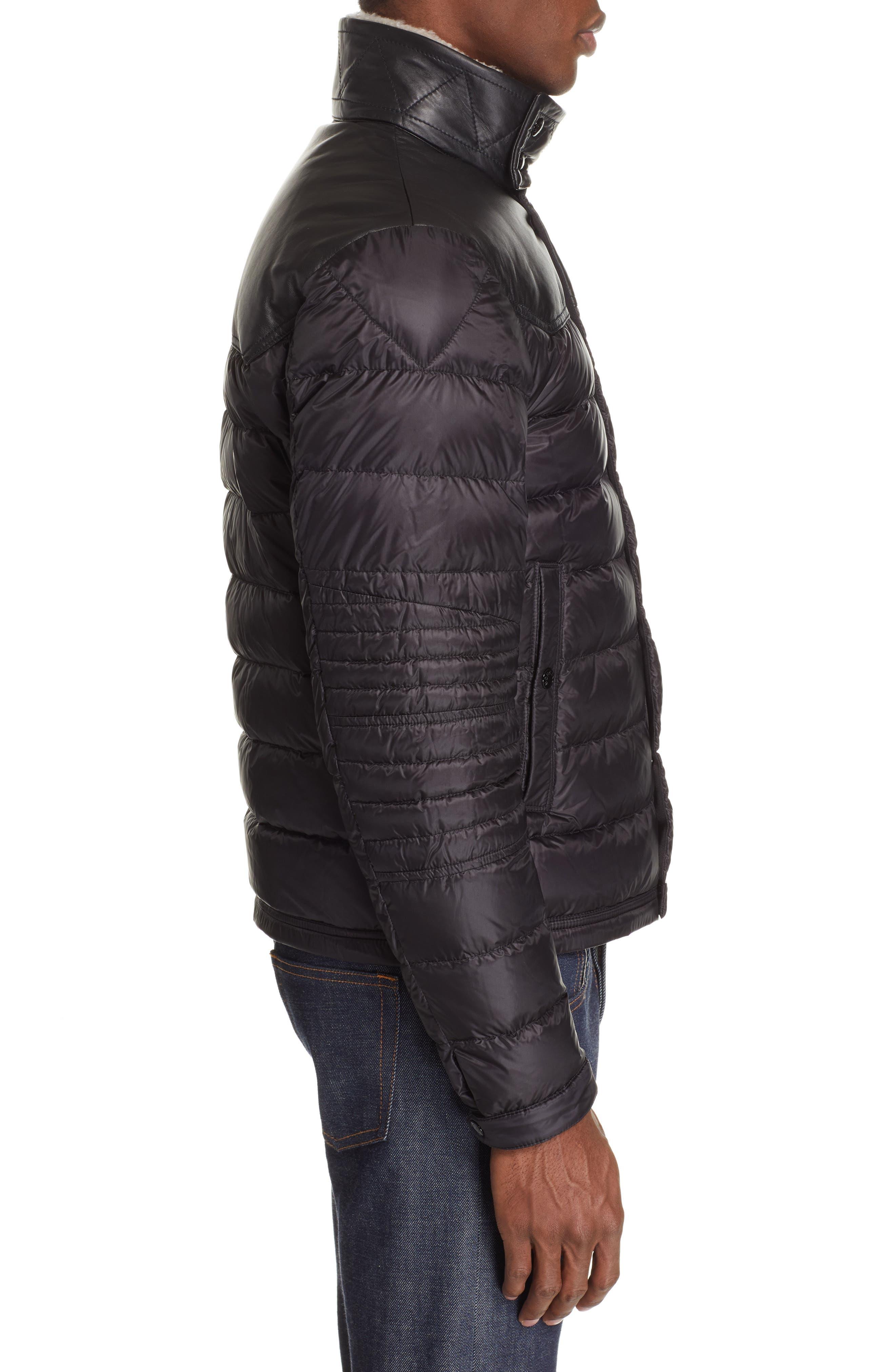MONCLER, Vasserot Genuine Shearling Collar Jacket, Alternate thumbnail 4, color, BLACK