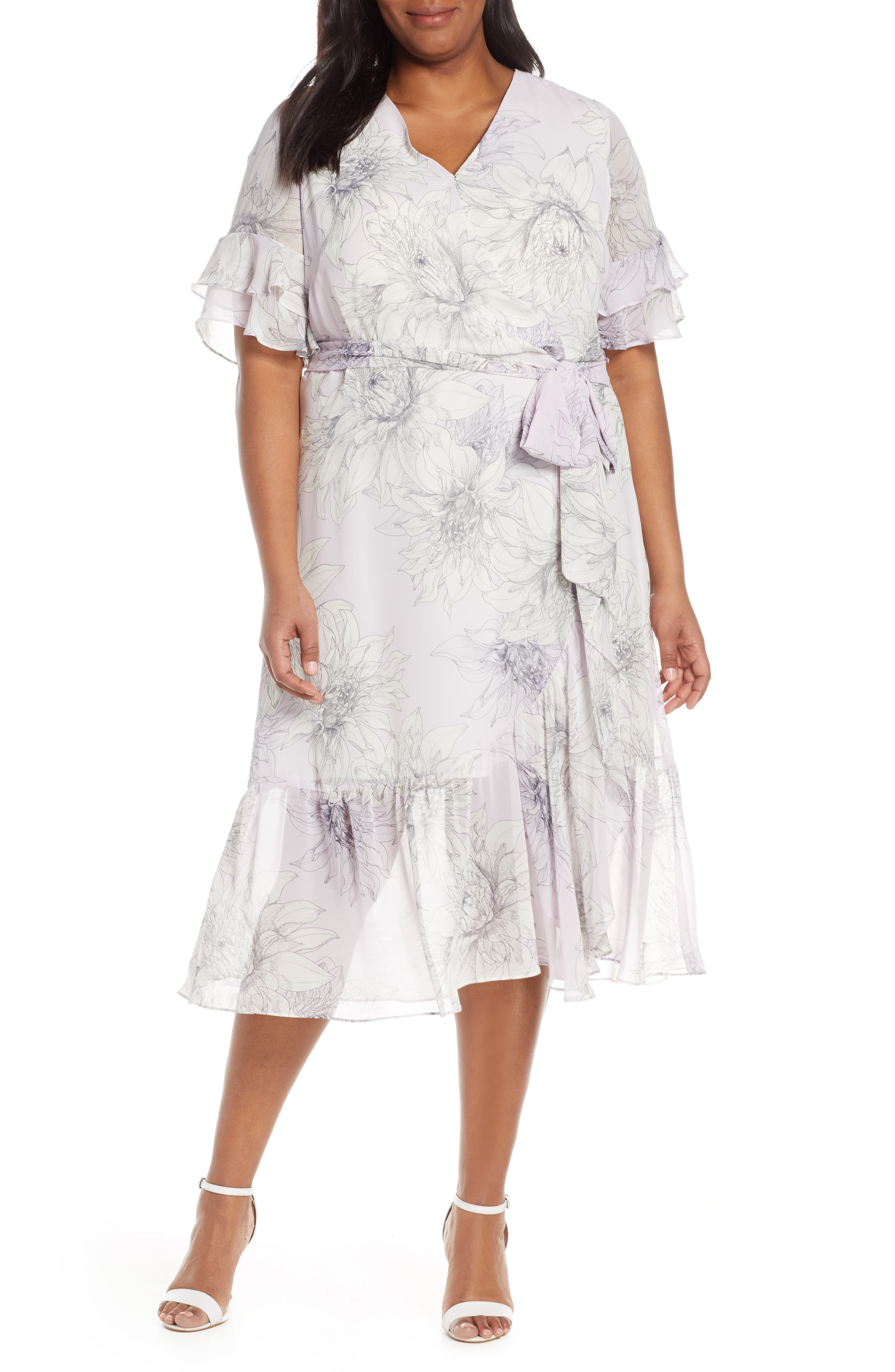 Plus Size Vince Camuto Blossoms Tiered Ruffle Sleeve Faux Wrap Dress, Purple