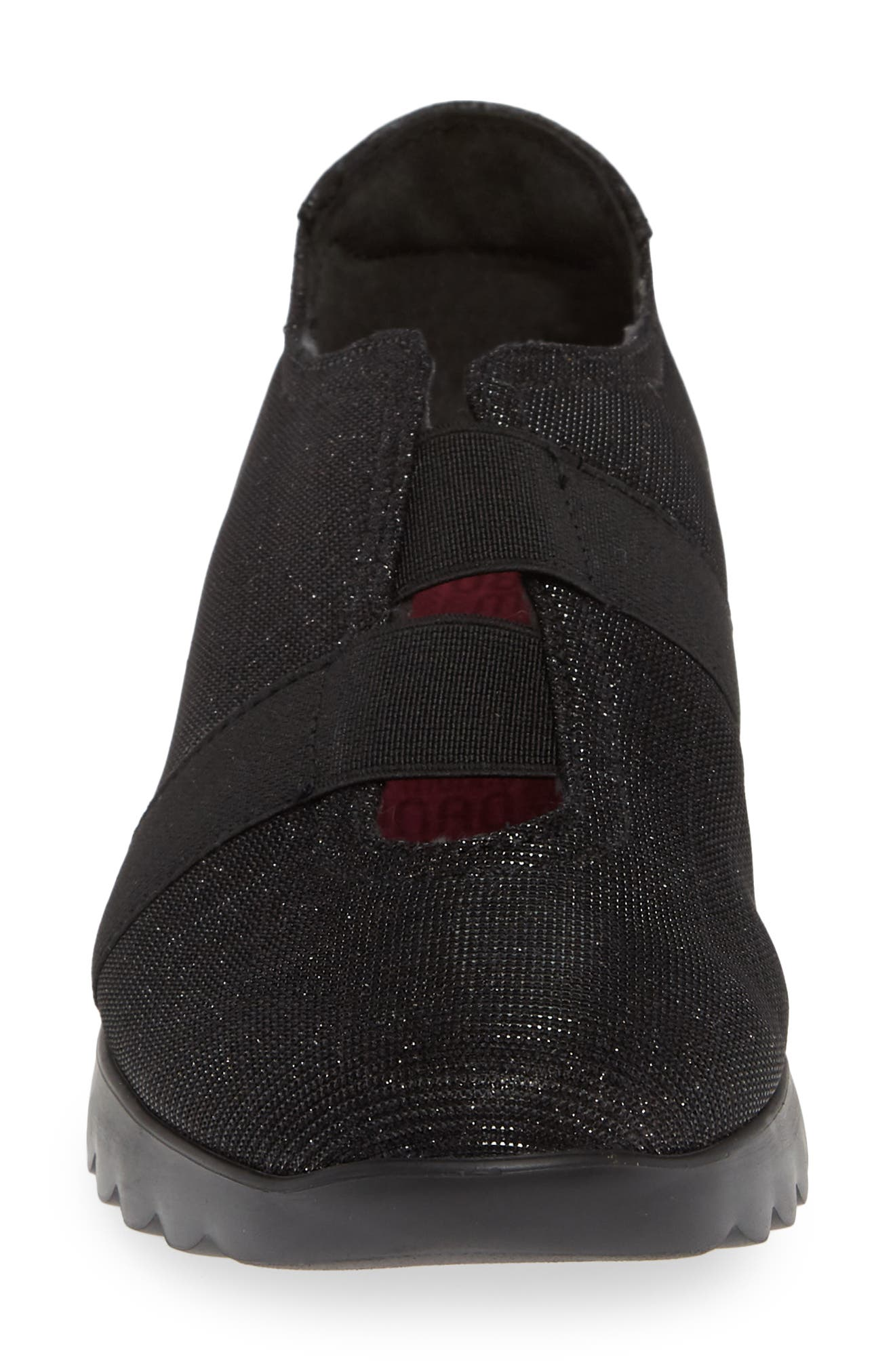 MUNRO, Alta Slip-On Sneaker, Alternate thumbnail 4, color, BLACK SPARKLE FABRIC