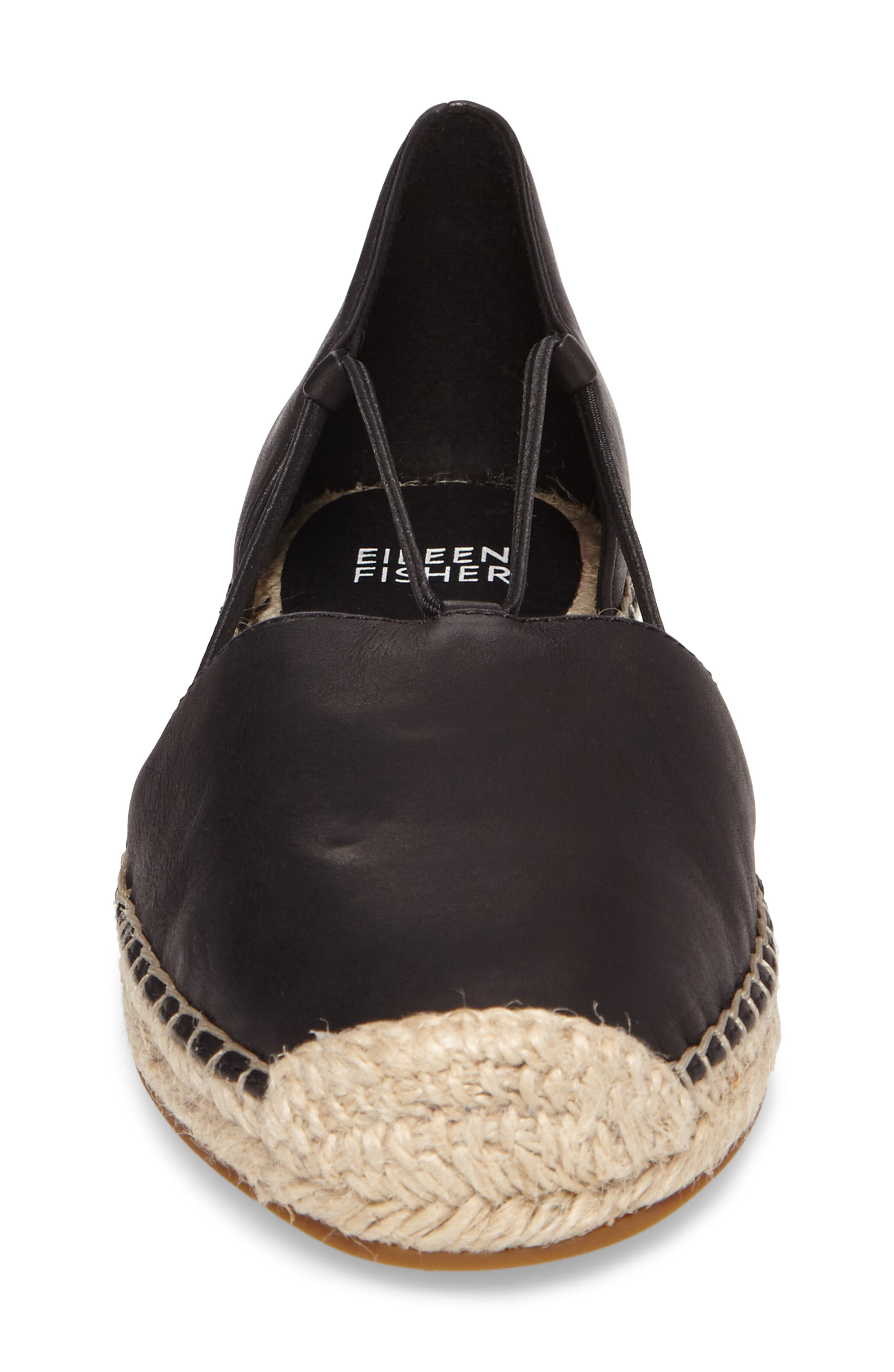 EILEEN FISHER, Lee Espadrille Flat, Alternate thumbnail 4, color, BLACK WASHED LEATHER