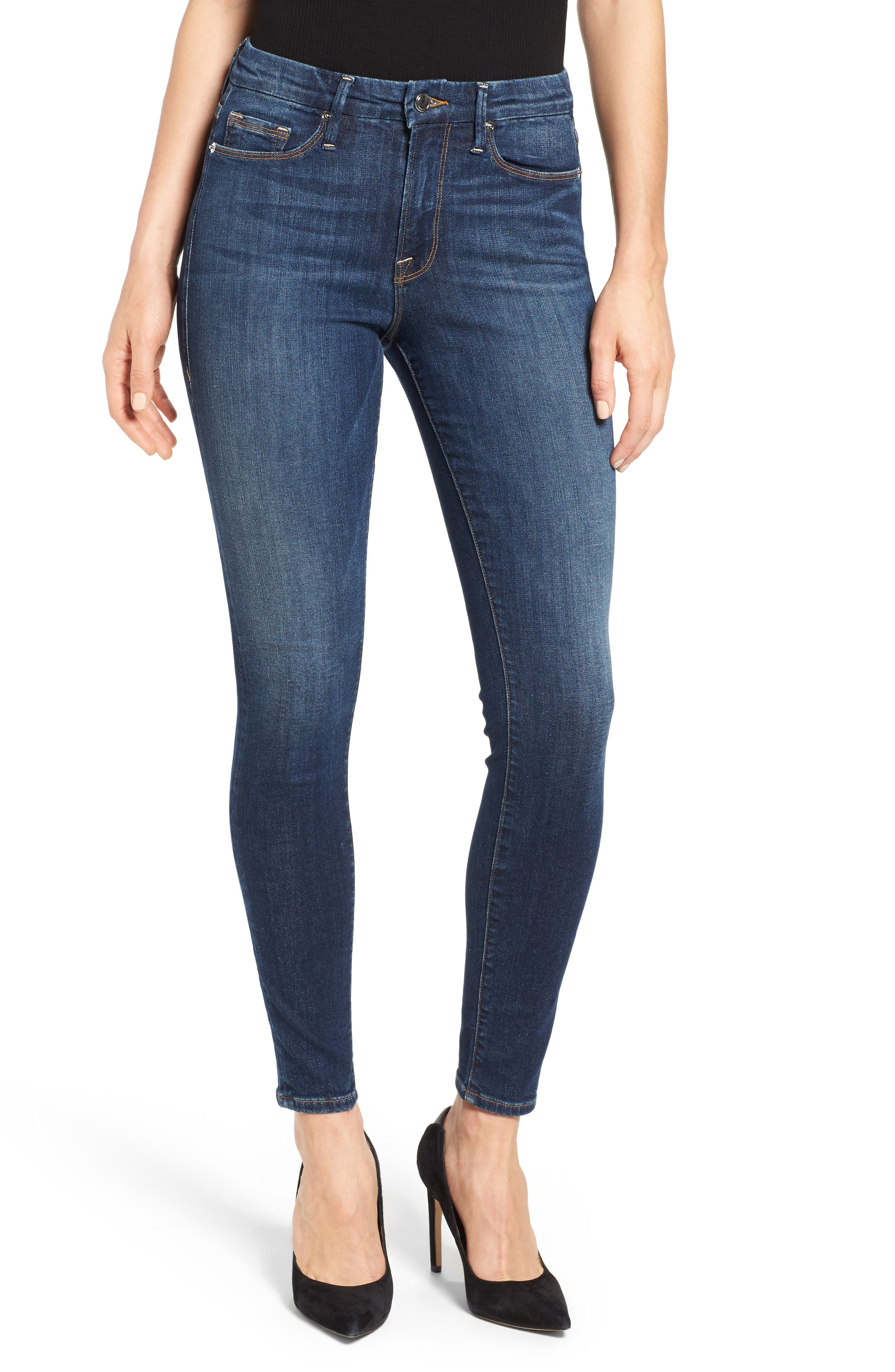 GOOD AMERICAN, Good Legs High Rise Skinny Jeans, Main thumbnail 1, color, BLUE 004