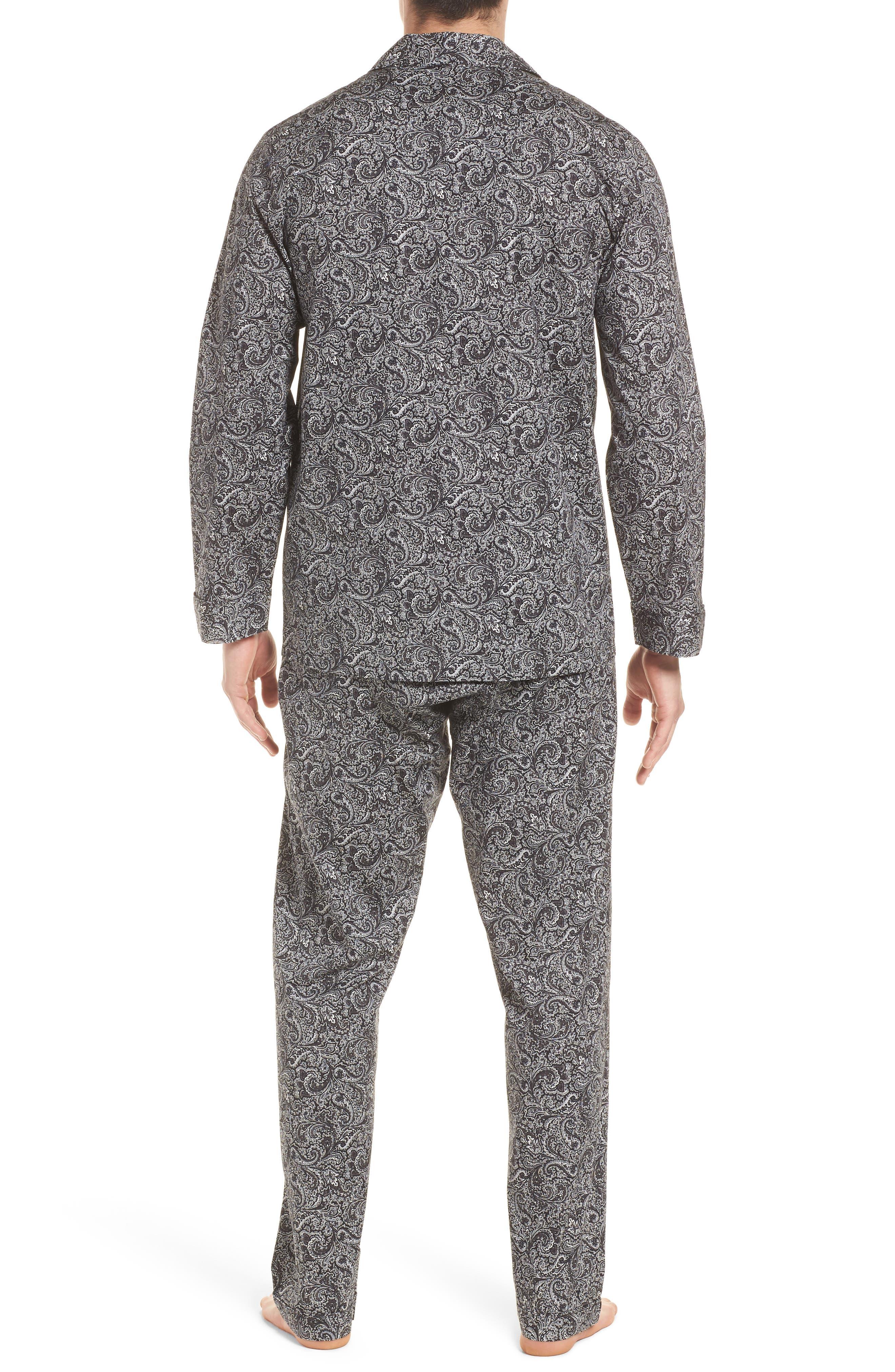 MAJESTIC INTERNATIONAL, Starling Pajama Set, Alternate thumbnail 2, color, BLACK PAISLEY